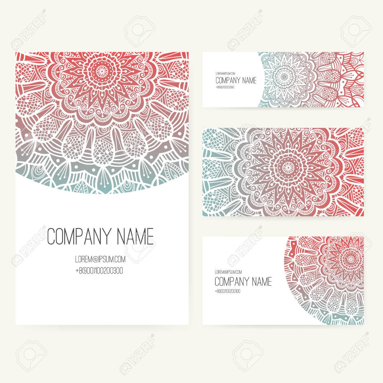 Set of business card and invitation card templates with lace set of business card and invitation card templates with lace ornament vector background indian flashek Images