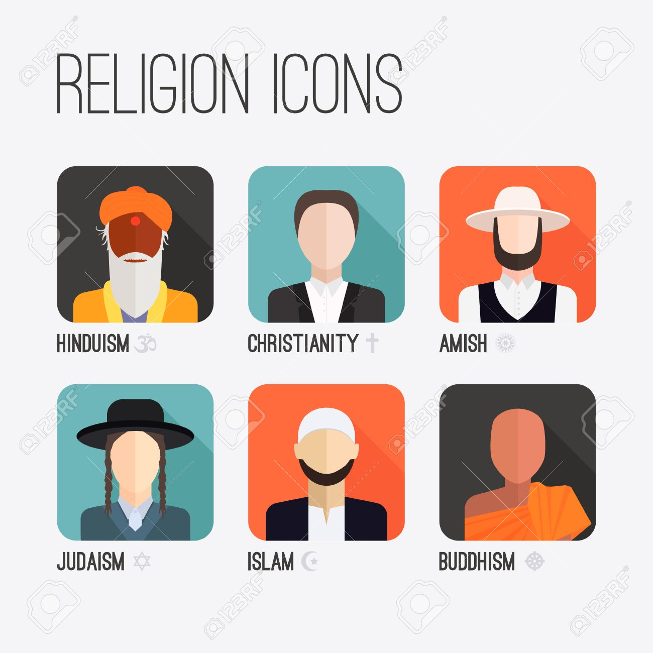 People Of Different Religion In Traditional Clothing Islam