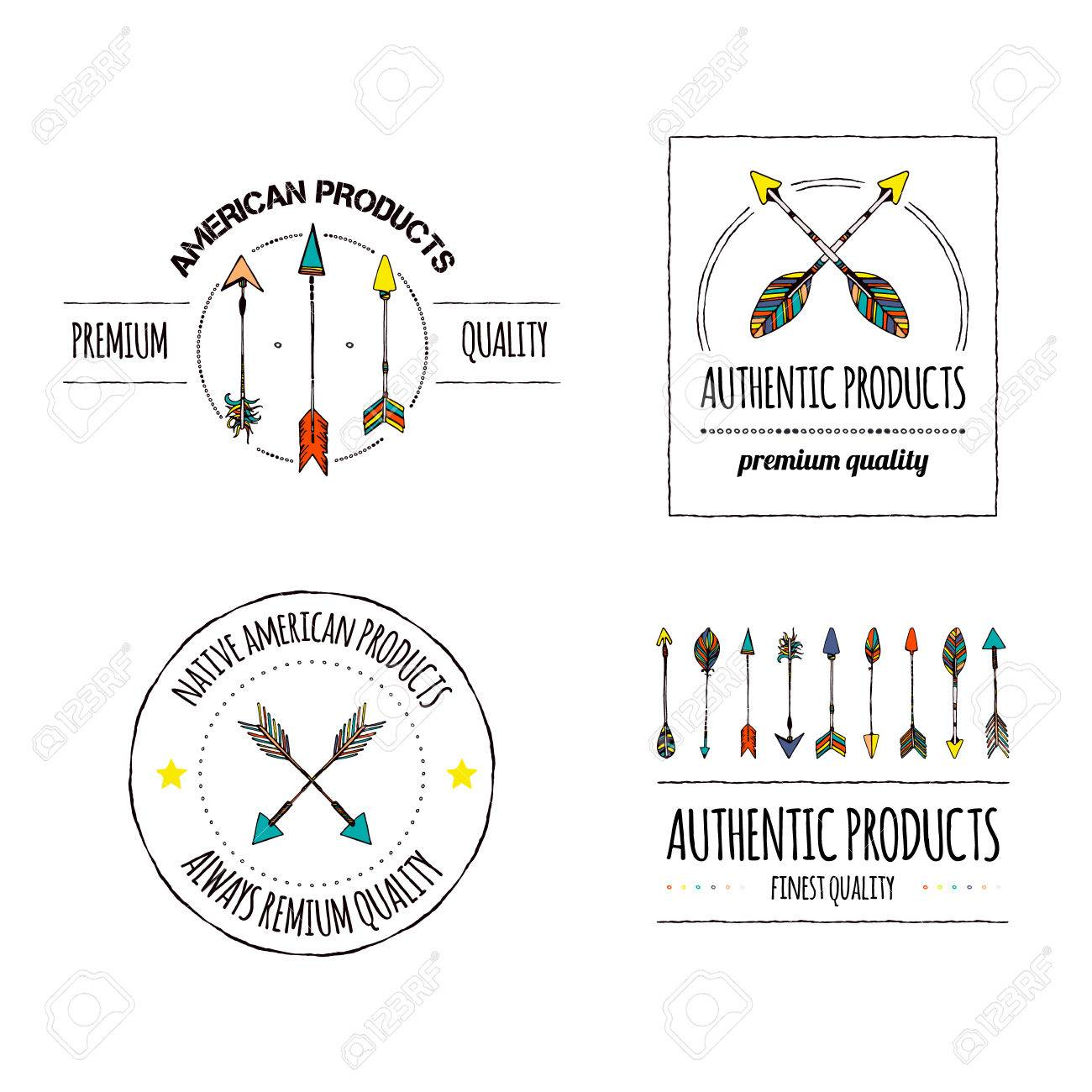 7d8b44a1d3f Authentic icon vector collection. Tribal design element. Arrow indian  handmade emblems. Manufacturing or