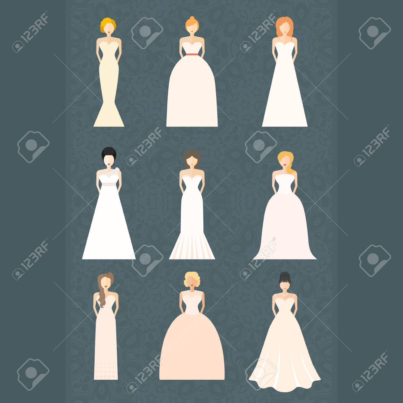 Brides in different styles of wedding dresses made in modern brides in different styles of wedding dresses made in modern flat vector style choose your junglespirit Image collections