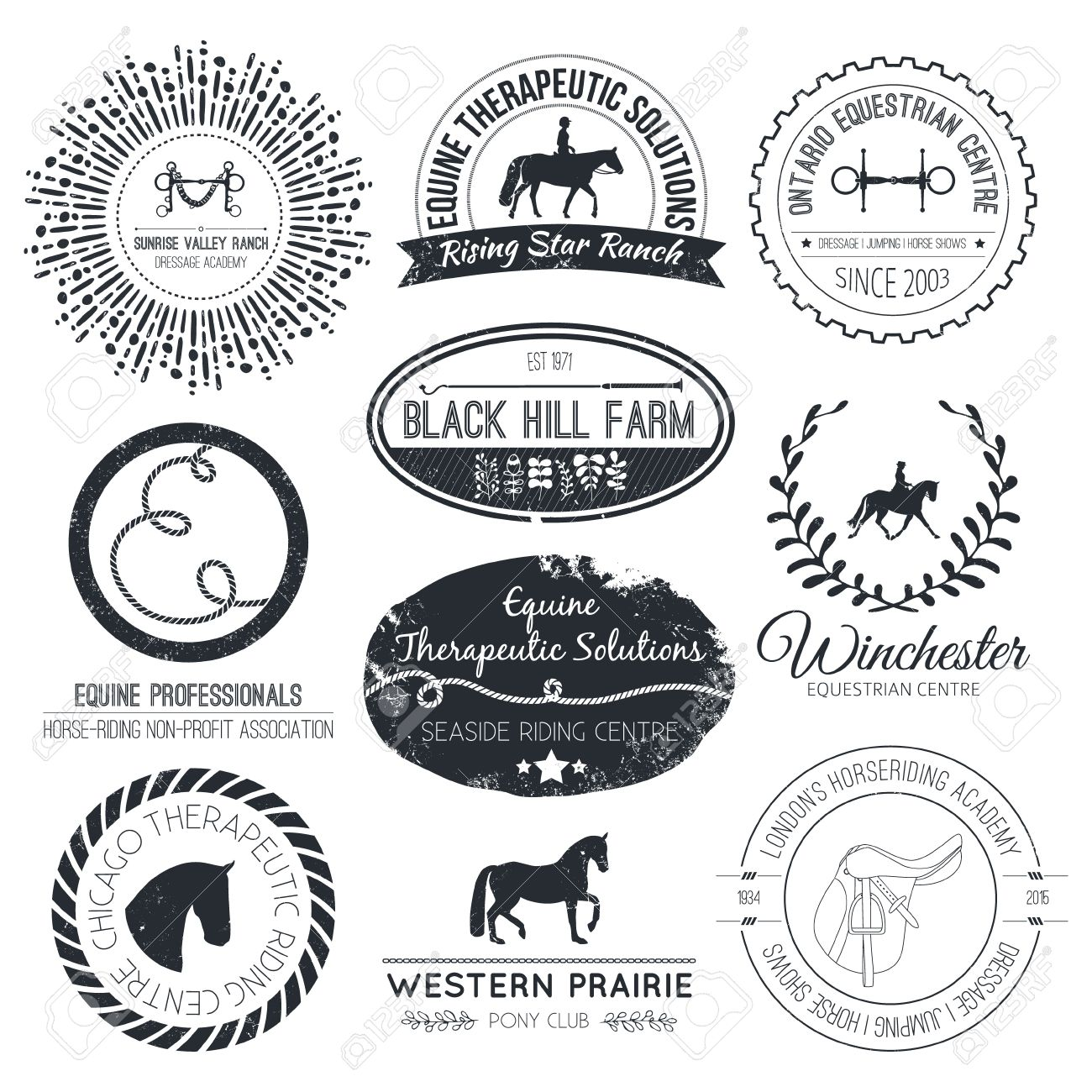 Equine Vintage Vector Logo Perfect Horse Related Business Symbols Royalty Free Cliparts Vectors And Stock Illustration Image 34219963
