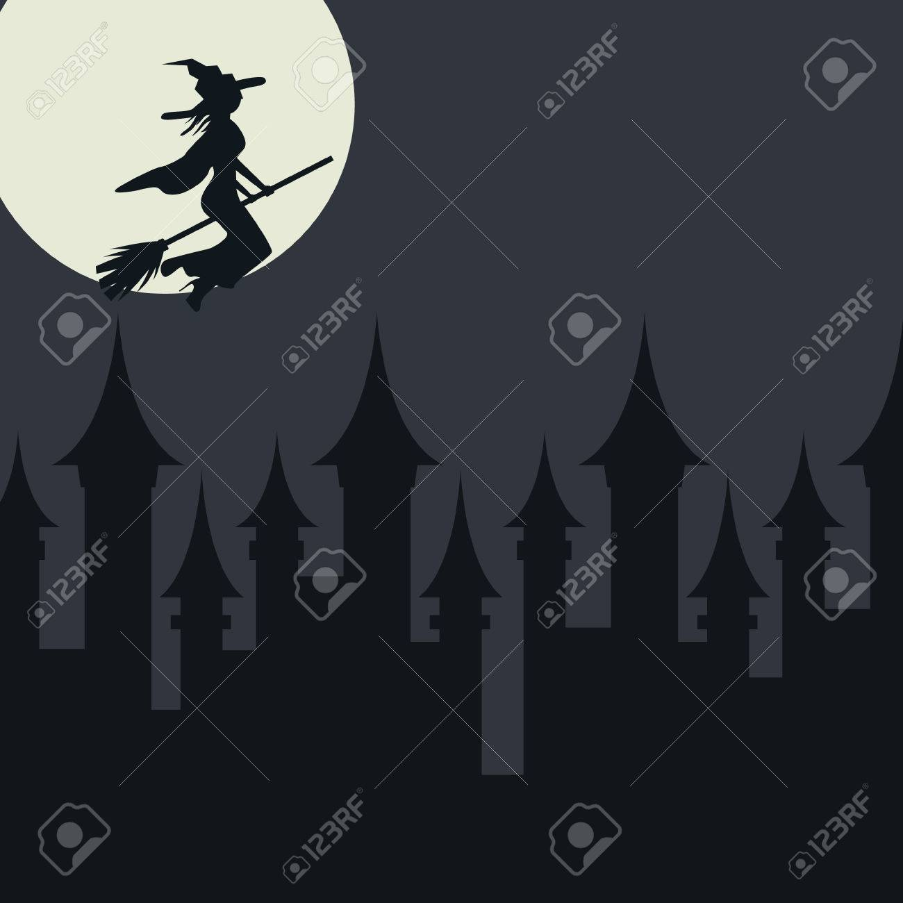 Halloween Card Template With Witch Flying Over The Town. Flat Vector ...