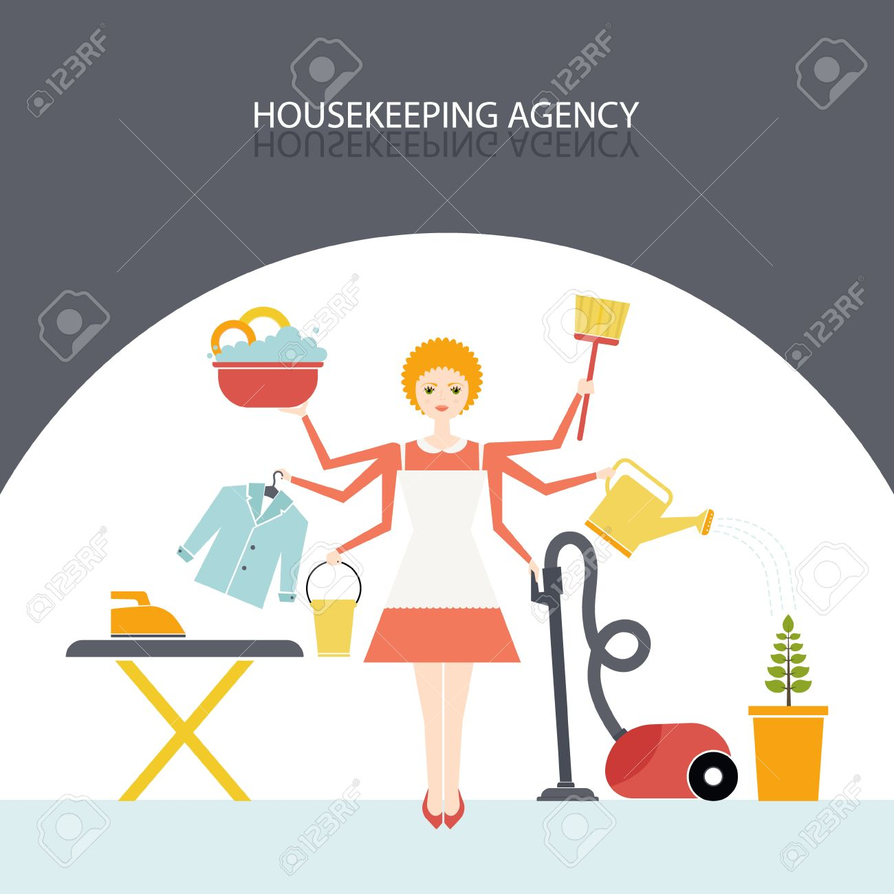 Busy Housekeeper Simultaneously Doing Many Tasks Around The House ...