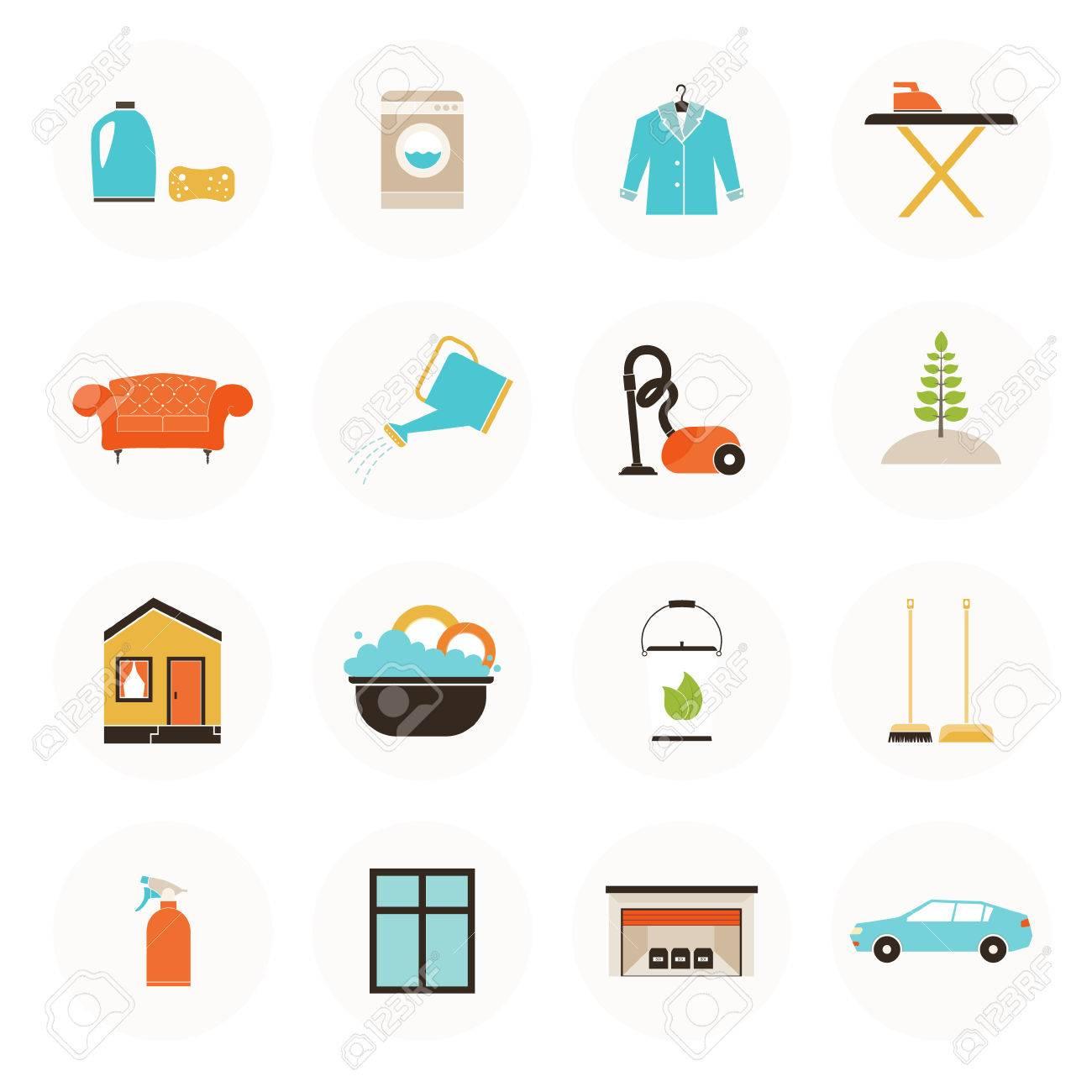 Set Of Modern Housekeeping Icons, Including Vacuum Cleaning, Carpet Clean,  Window, Garage