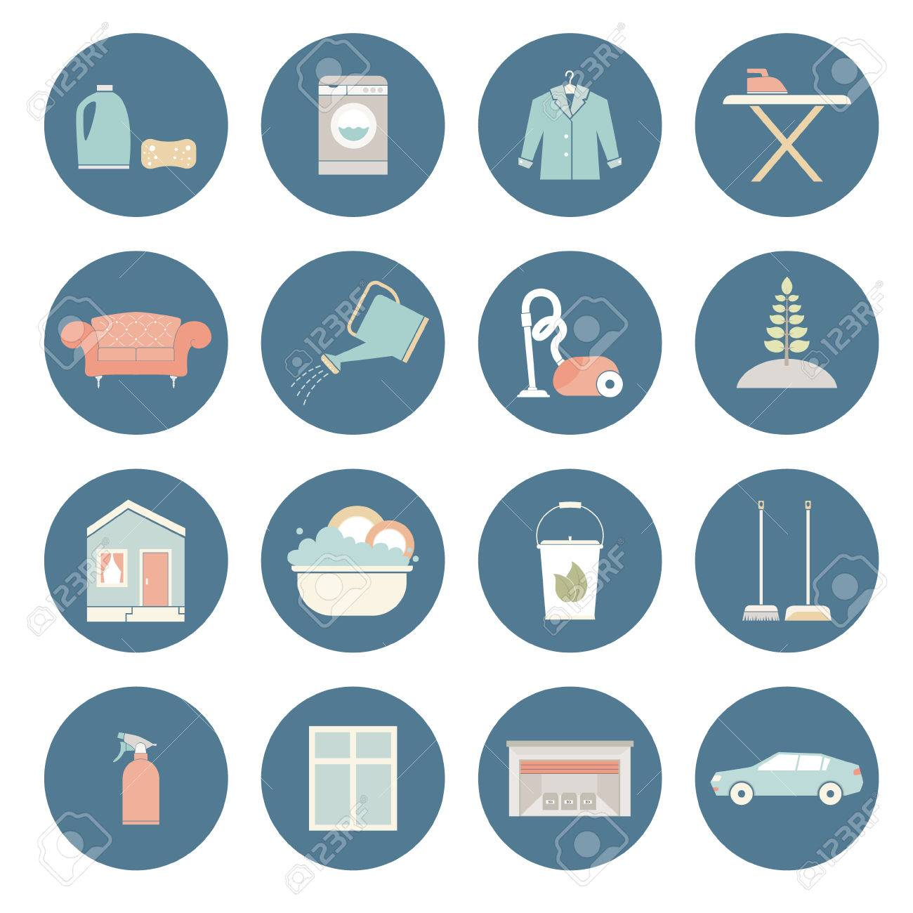 Great House Cleaning Vector   Ironing, Dish Wash, Vacuum Cleaning, Plant Care,  Furniture