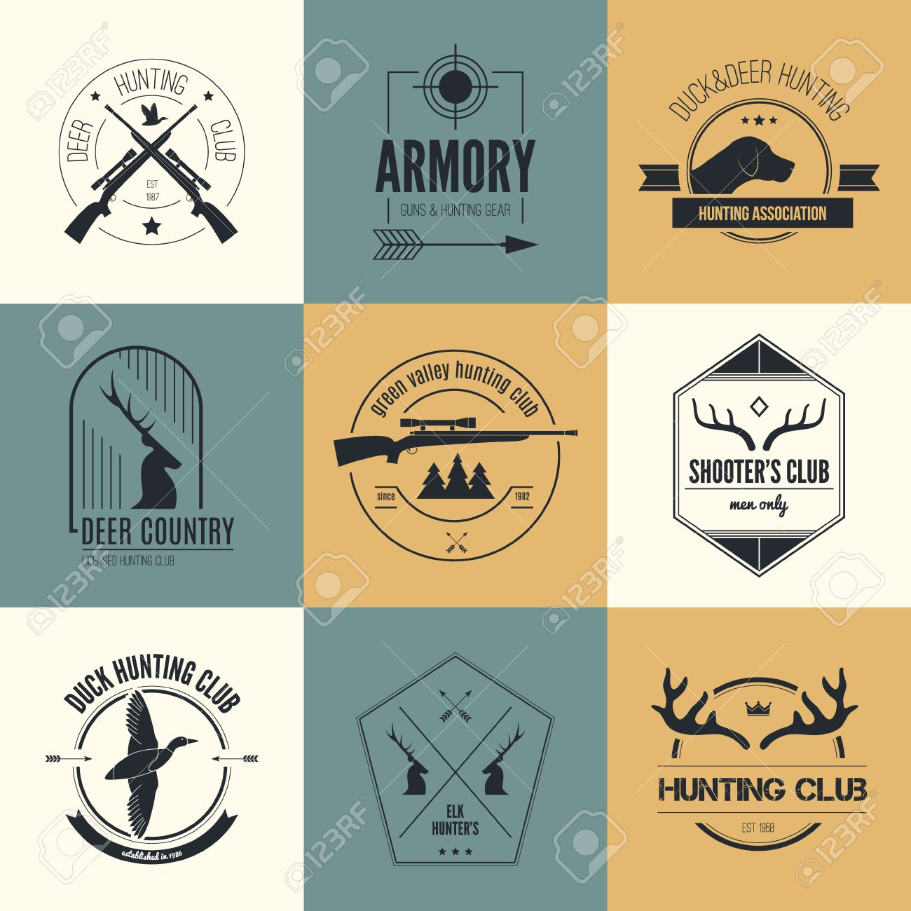Hunting club label collecton made in vector  Shooting, prey,