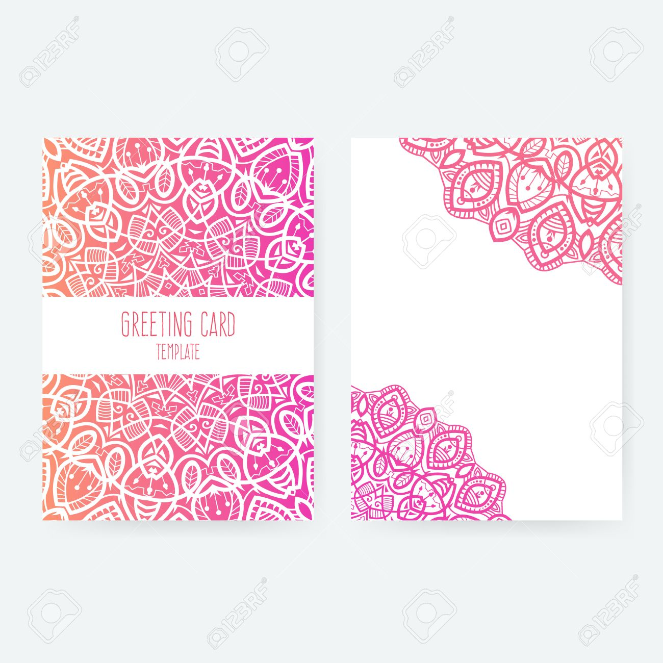 Set of business card and invitation card templates with lace set of business card and invitation card templates with lace ornament vector background indian stopboris Gallery