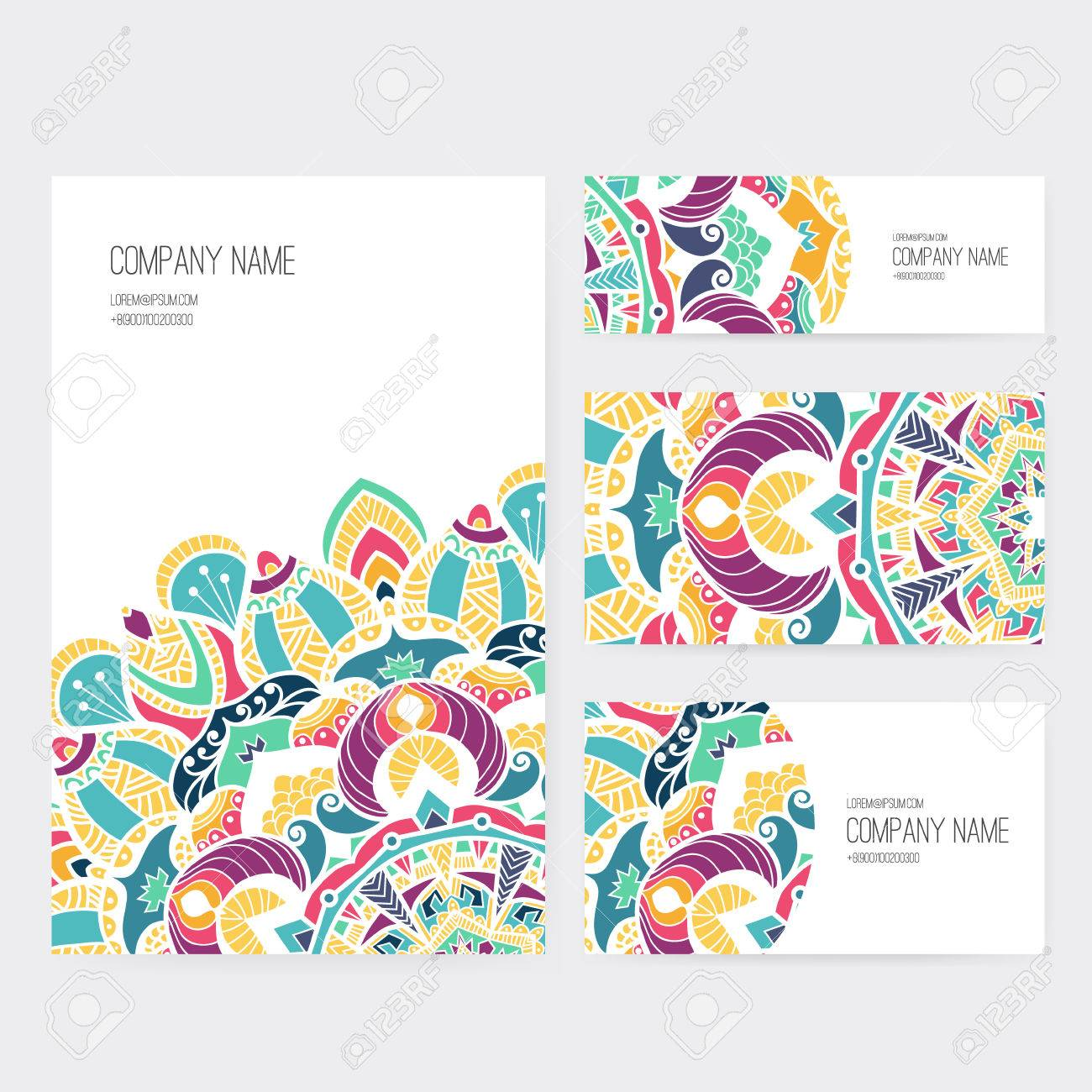 Set of business card and invitation card templates with lace set of business card and invitation card templates with lace ornament vector background indian stopboris Images