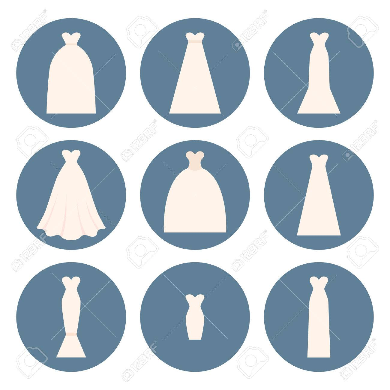 Different Styles Of Wedding Dresses Made In Modern Flat Vector ...