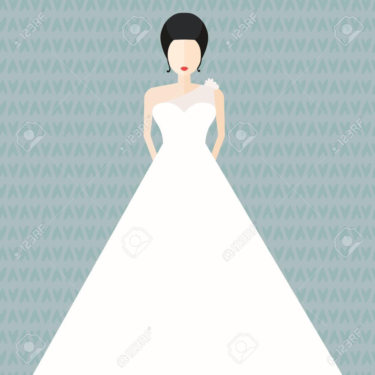 Ilustración Vectorial Nupcial Moderna - Novia En Vestido Blanco Con ...
