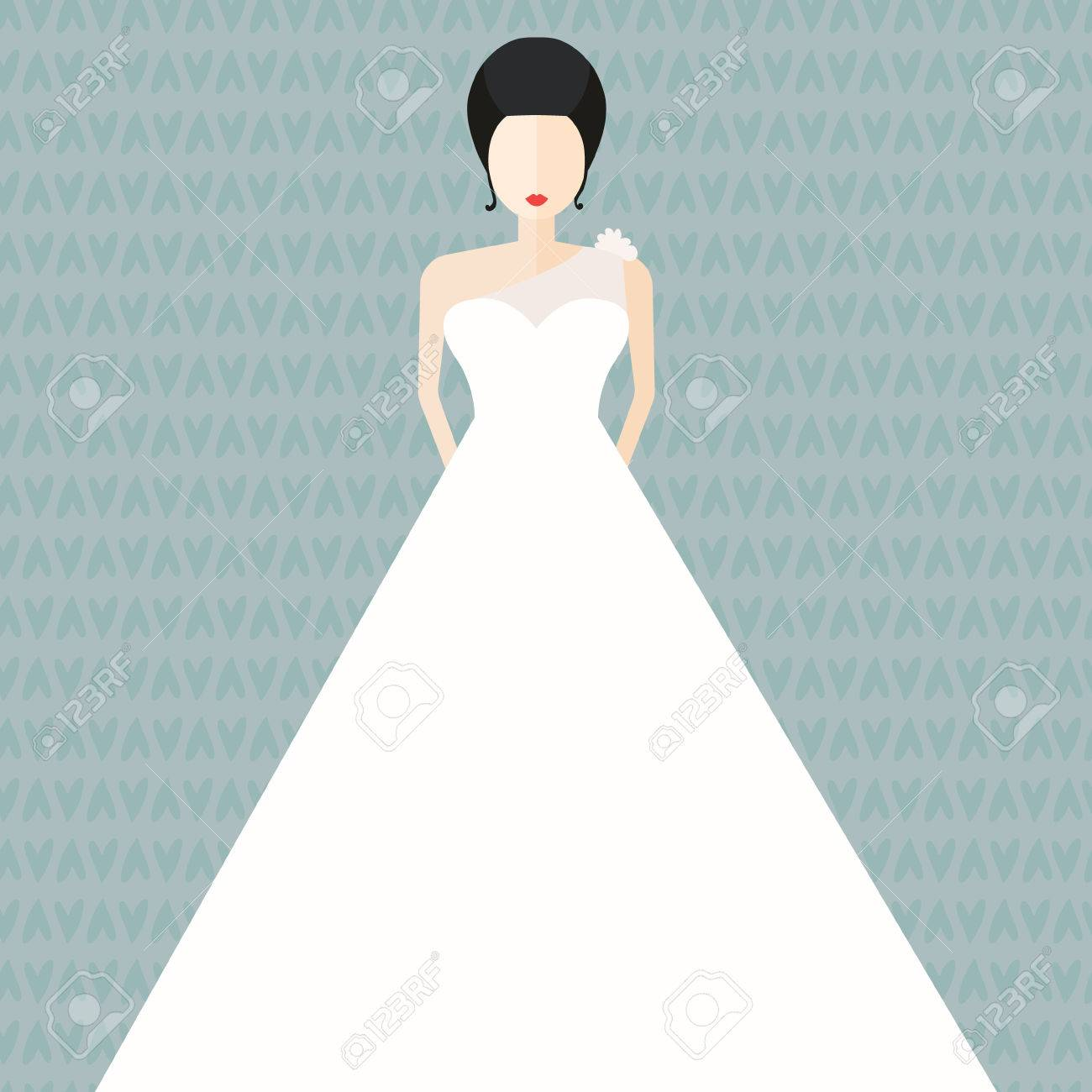 Modern Bridal Vector Illustration - Bride In White Dress With ...