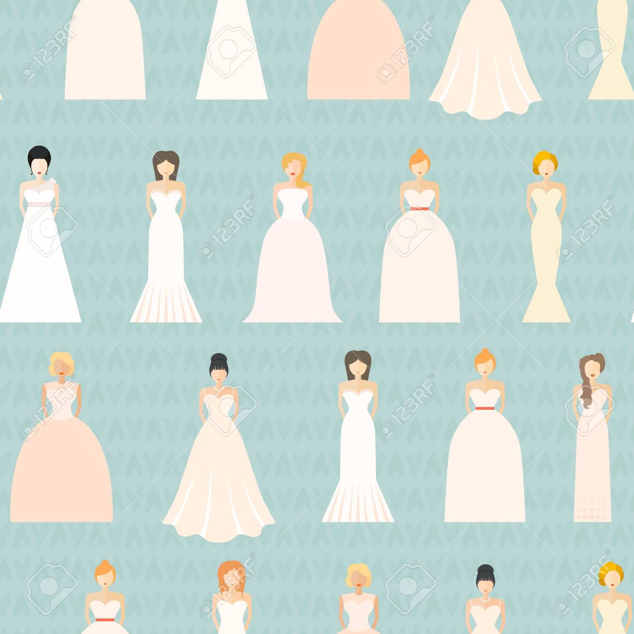 Brides In Different Styles Of Wedding Dresses Seamless Pattern ...