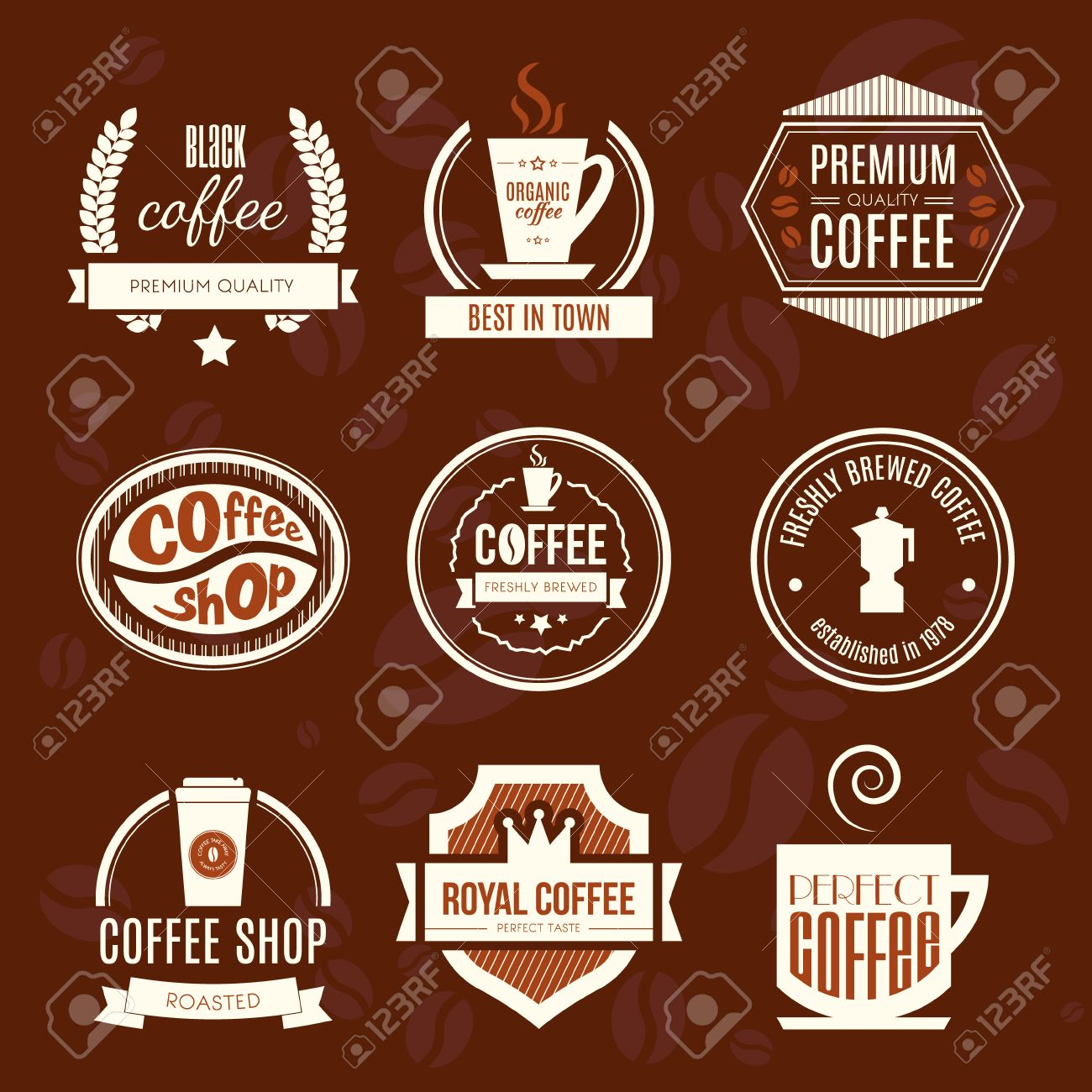 Vector Set Of Coffee Shop Logos Restaurant Or Bar Logotype Design Royalty Free Cliparts Vectors And Stock Illustration Image 36182597