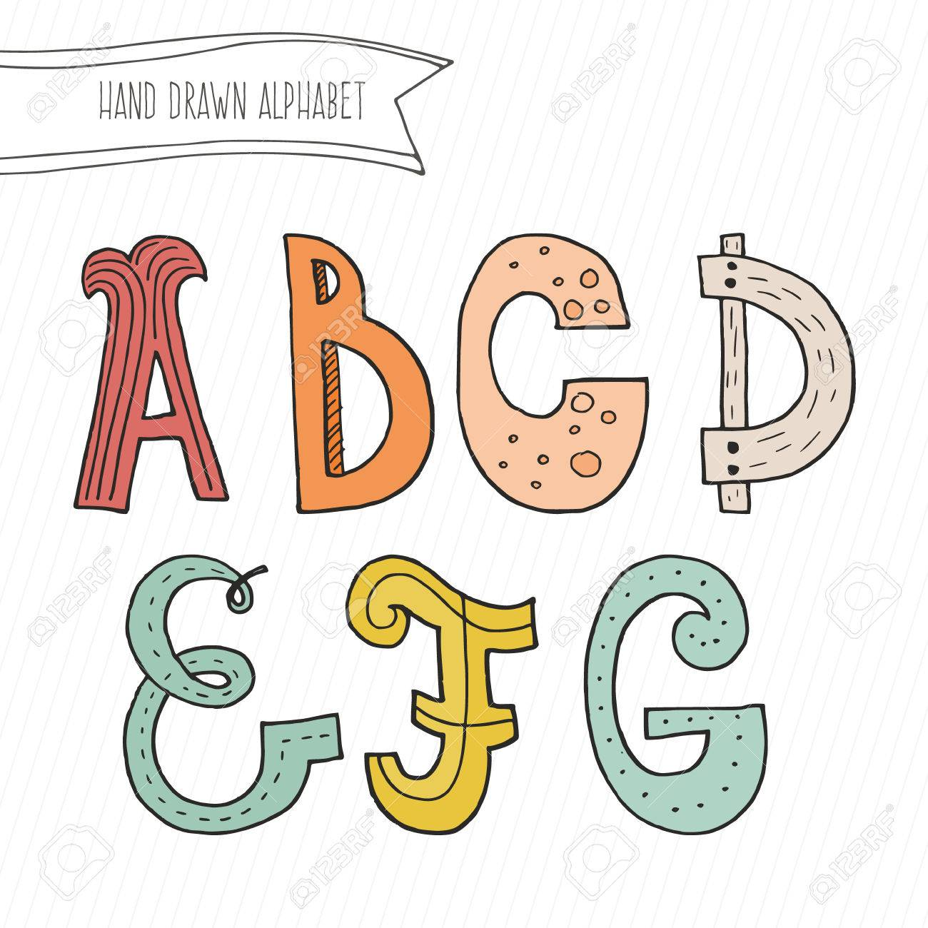 Cute hand drawn alphabet for kids made in vector  Doodle letters