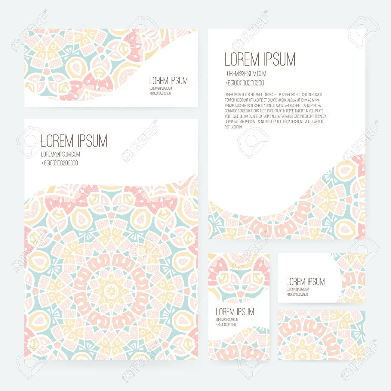 Set Of Business Card And Invitation Card Templates With Lace Ornament Vector Background Indian Arabic Islam Motifs Vintage Design Elements
