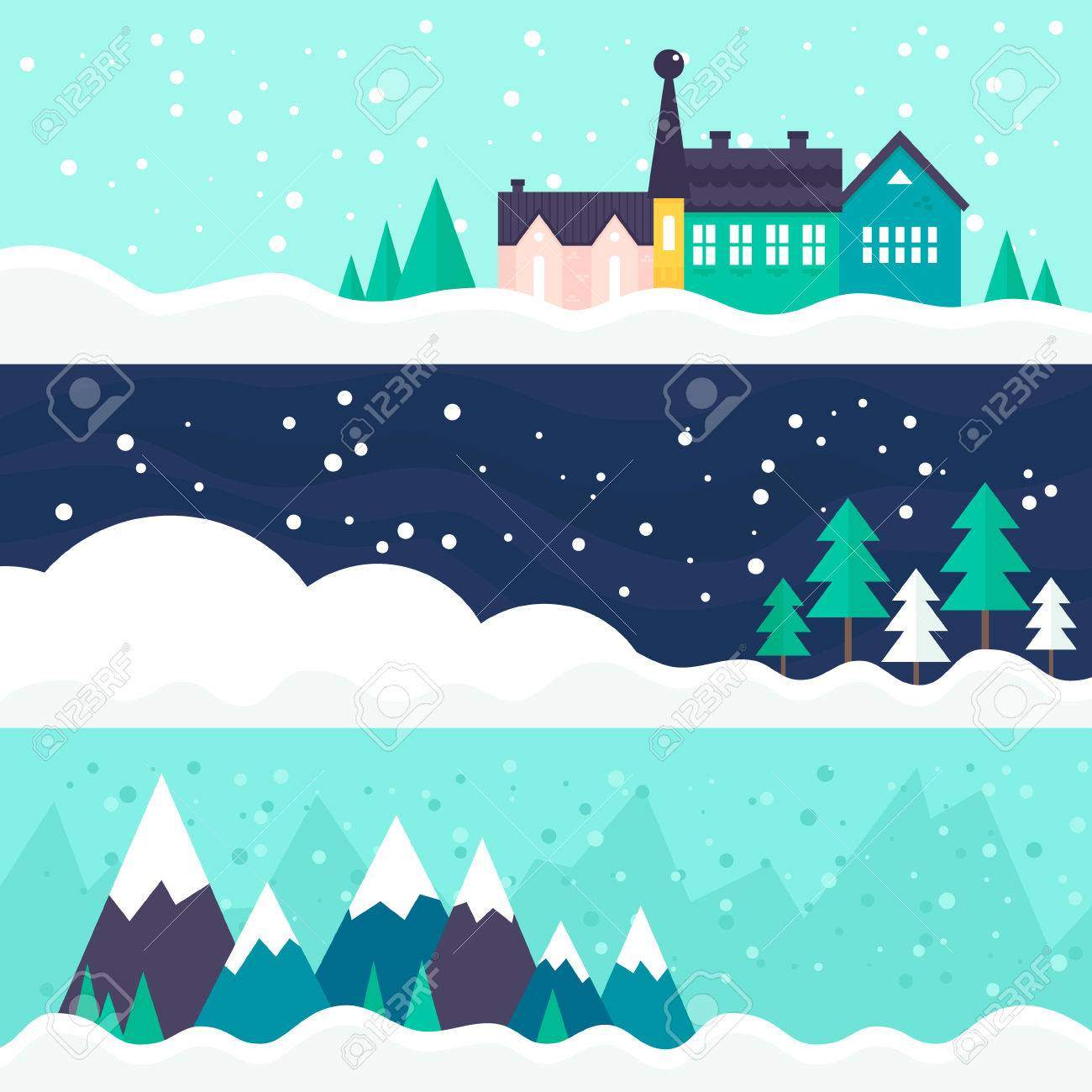 winter vector card templates town trees and ski trail vector winter vector card templates town trees and ski trail xmas celebration christmas invitation new year card design
