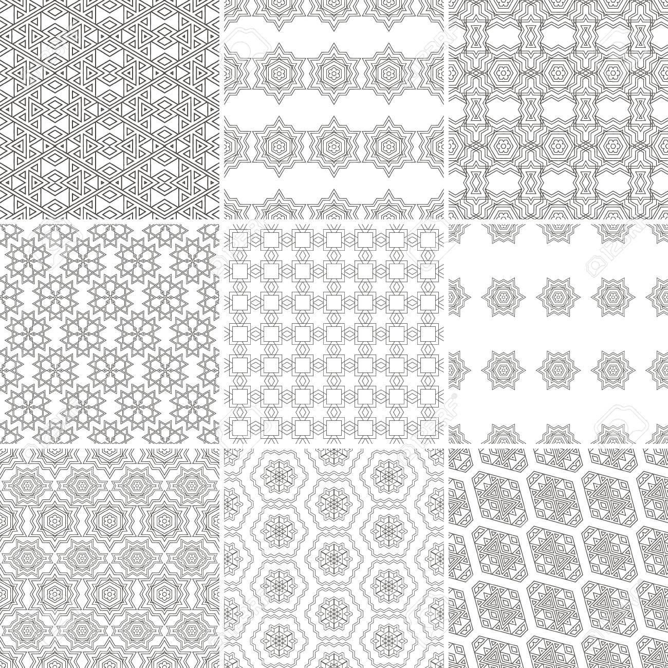 Conjunto de nueve patrones geométricos sin costura. Texturas vintage.  Decorativo para tarjetas, invitaciones, diseño de páginas web. Papel  digital ...