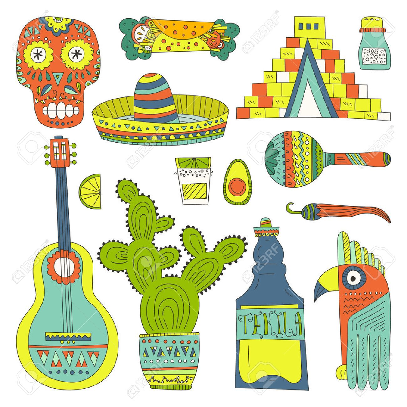 Hand Drawn Set Of Mexican Symbols Guitar Sombrero Tequila