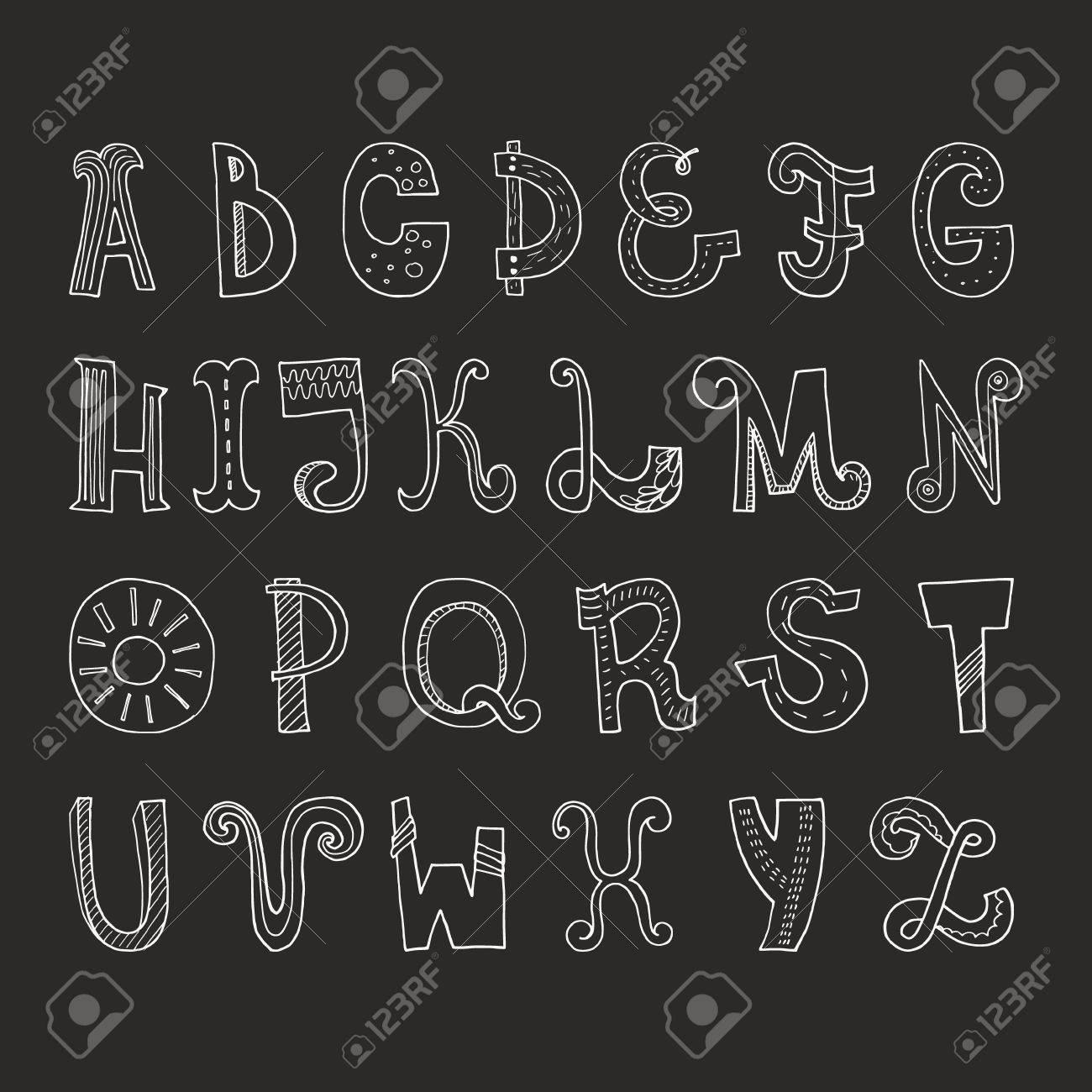 かわいい手にはベクトルはアルファベットが描かれましたあなたのデザインのための Abc簡単に使用し文字を編集します