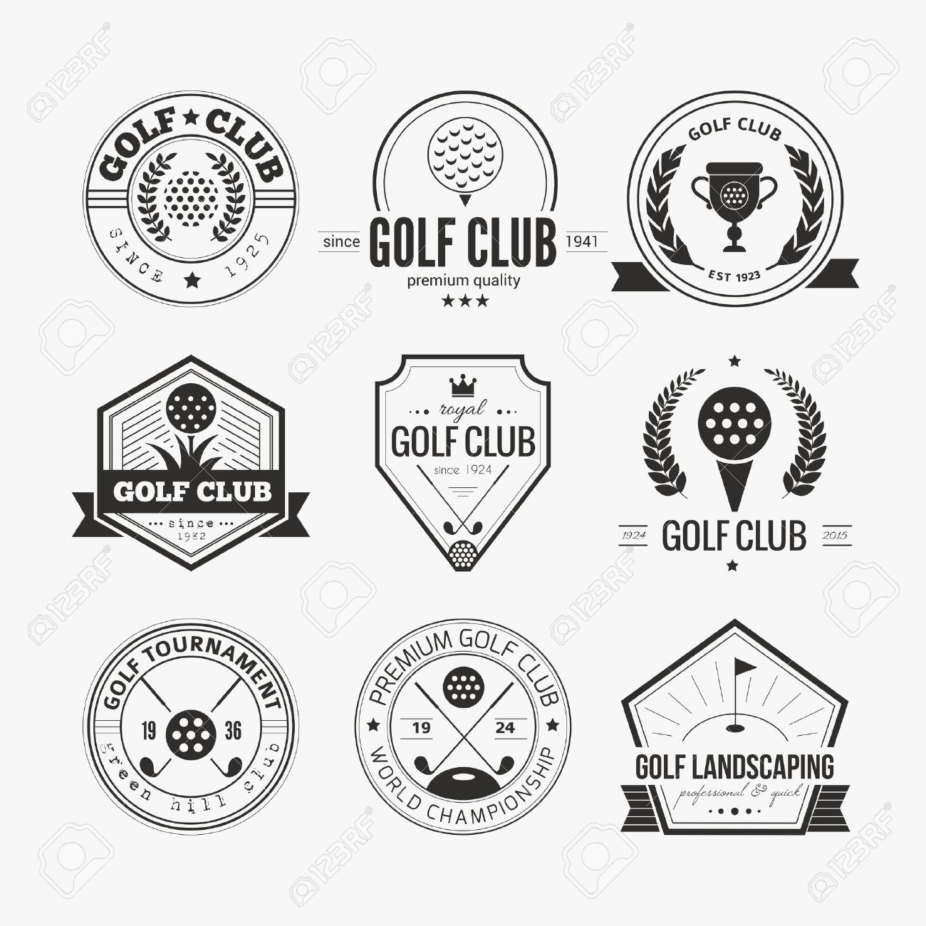 Set Of Golf Club Templates Hipster Sport Labels With Sample Text Elegant Vintage Icons