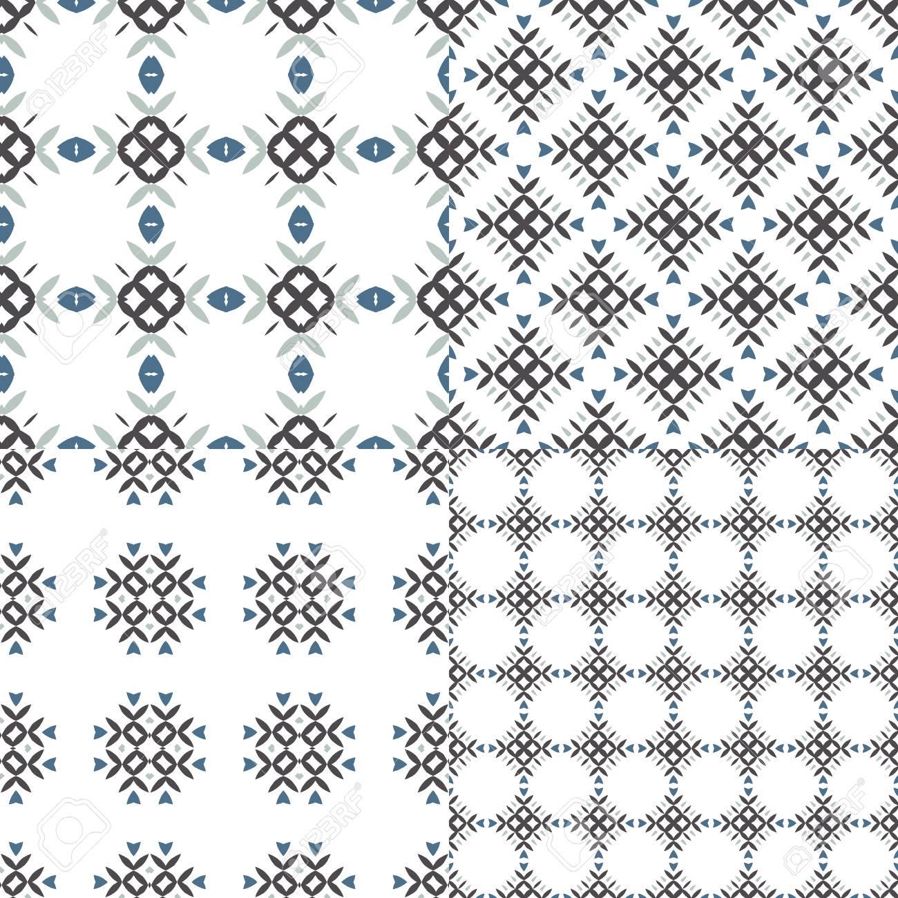 Elegante Colección De Cuatro Patrones Geométricos Sin Costura. Fondo ...
