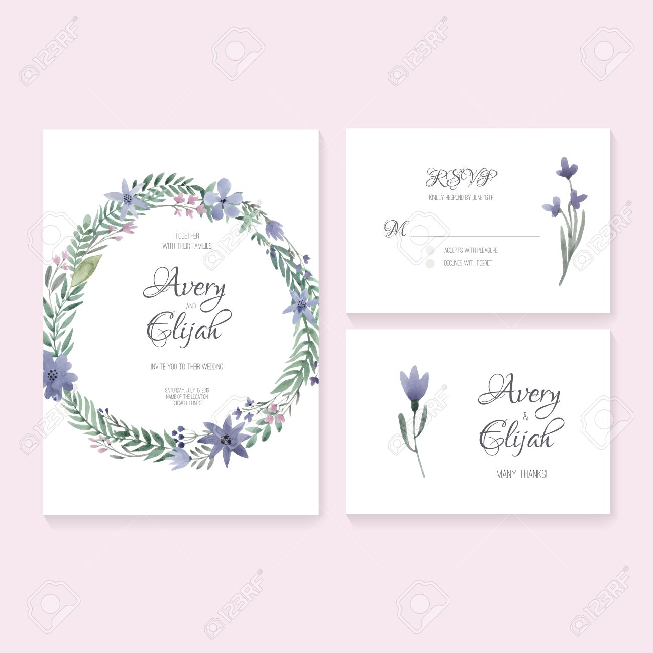 Unique Gentle Vector Wedding Cards Template With Watercolor. Wedding  Invitation Or Save The Date,