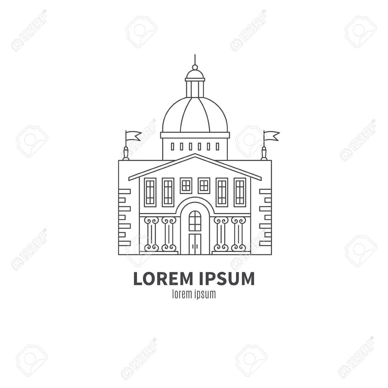Parliament Building Made In Line Style Vector Modern Isolated