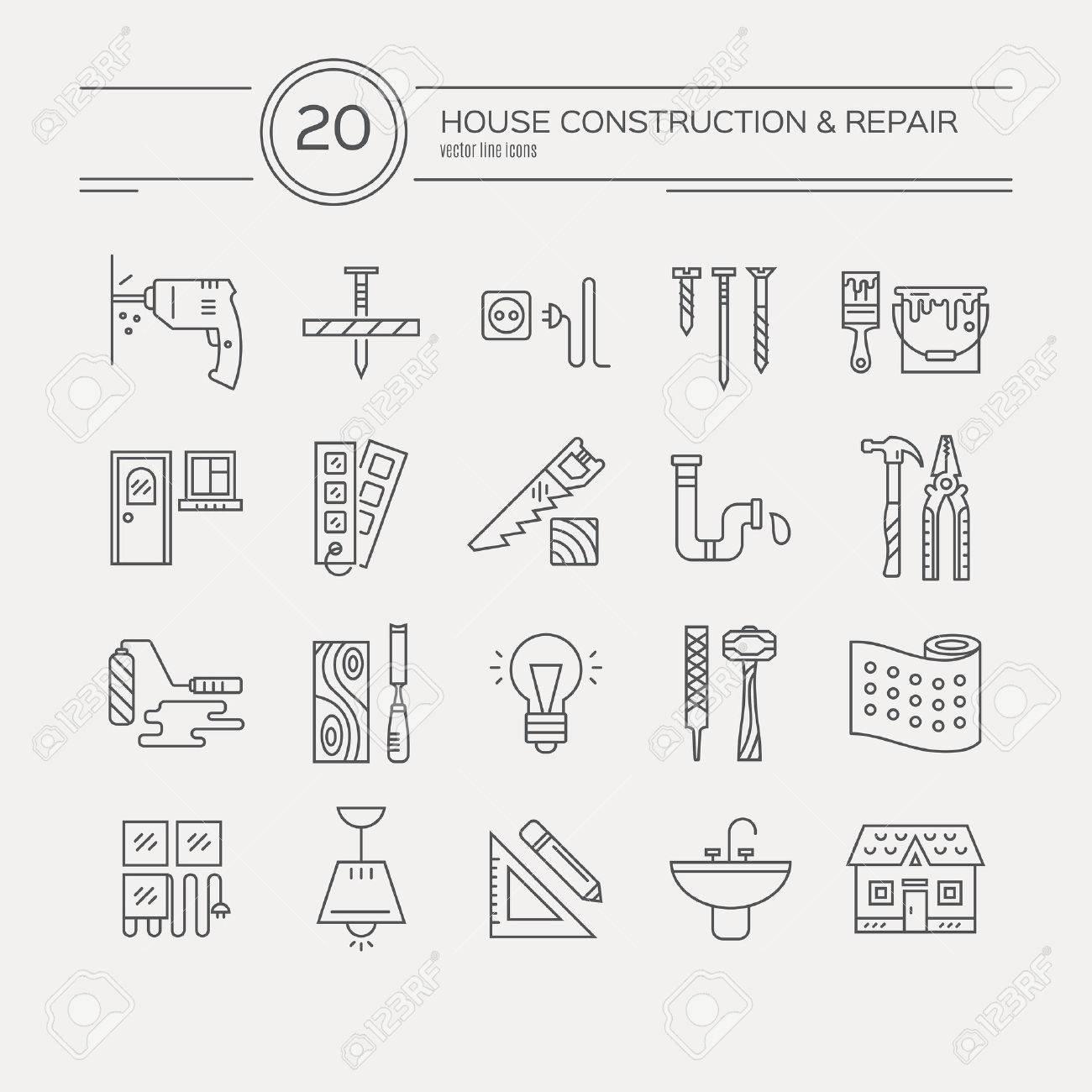 Good Standard Bild   Vektor Sammlung Von Haus Reparatur Icons, Einschließlich  Elektrischer, Sanitär Werkzeuge. Modernen Linienstil Etiketten Haus  Umgestalten ...