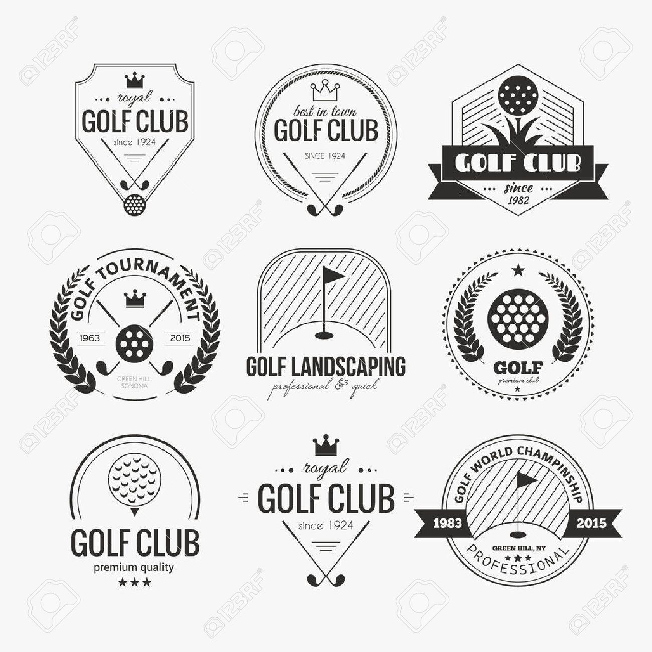 Exemple Logo ensemble de club de golf modèles de logo. Étiquettes de sport