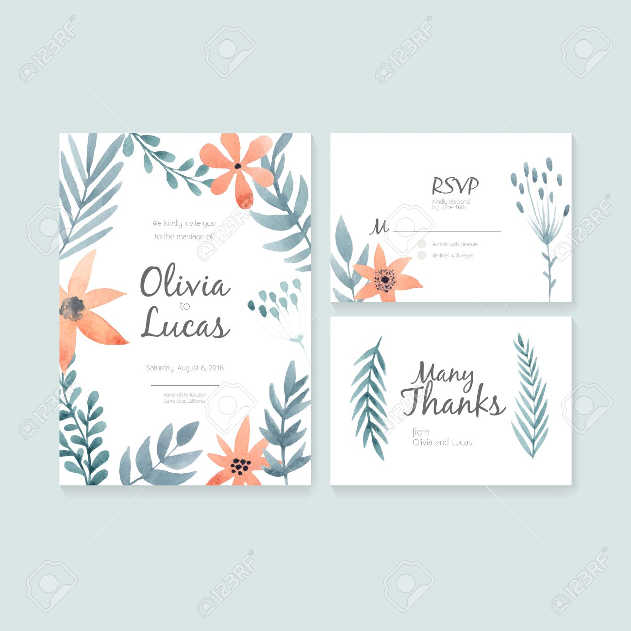 Unique Gentle Vector Wedding Cards Template With Watercolor ...