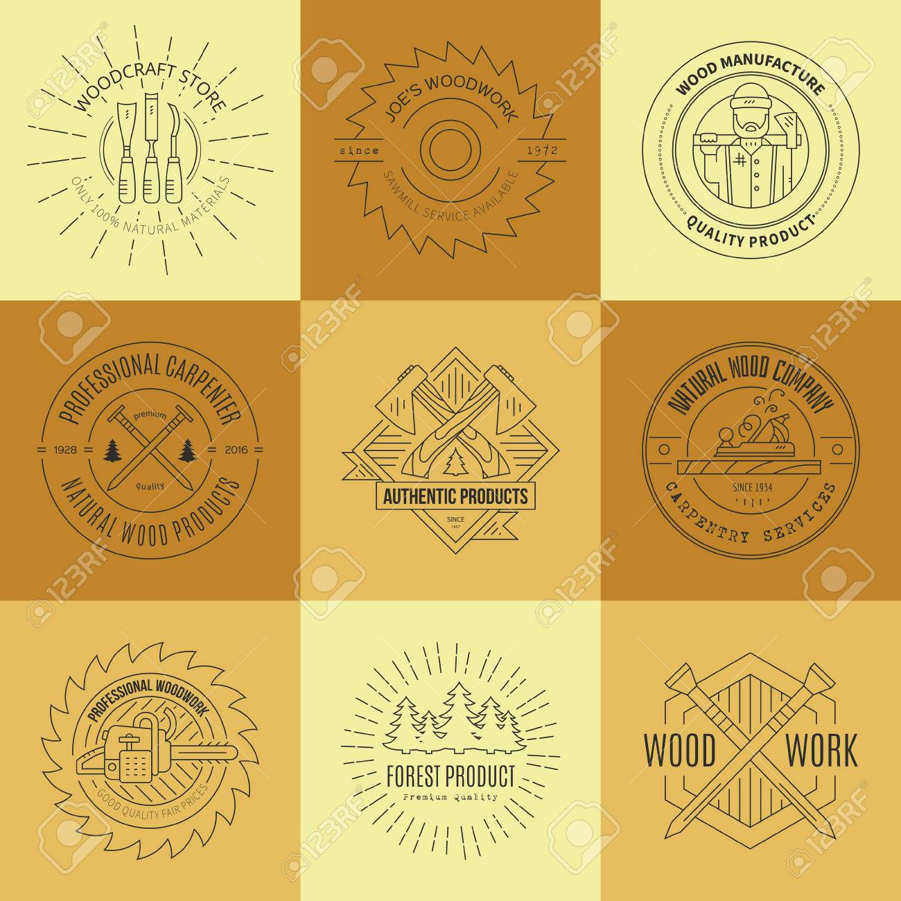 Set Of Vintage Carpentry Logotypes Made In Vector Wood Work