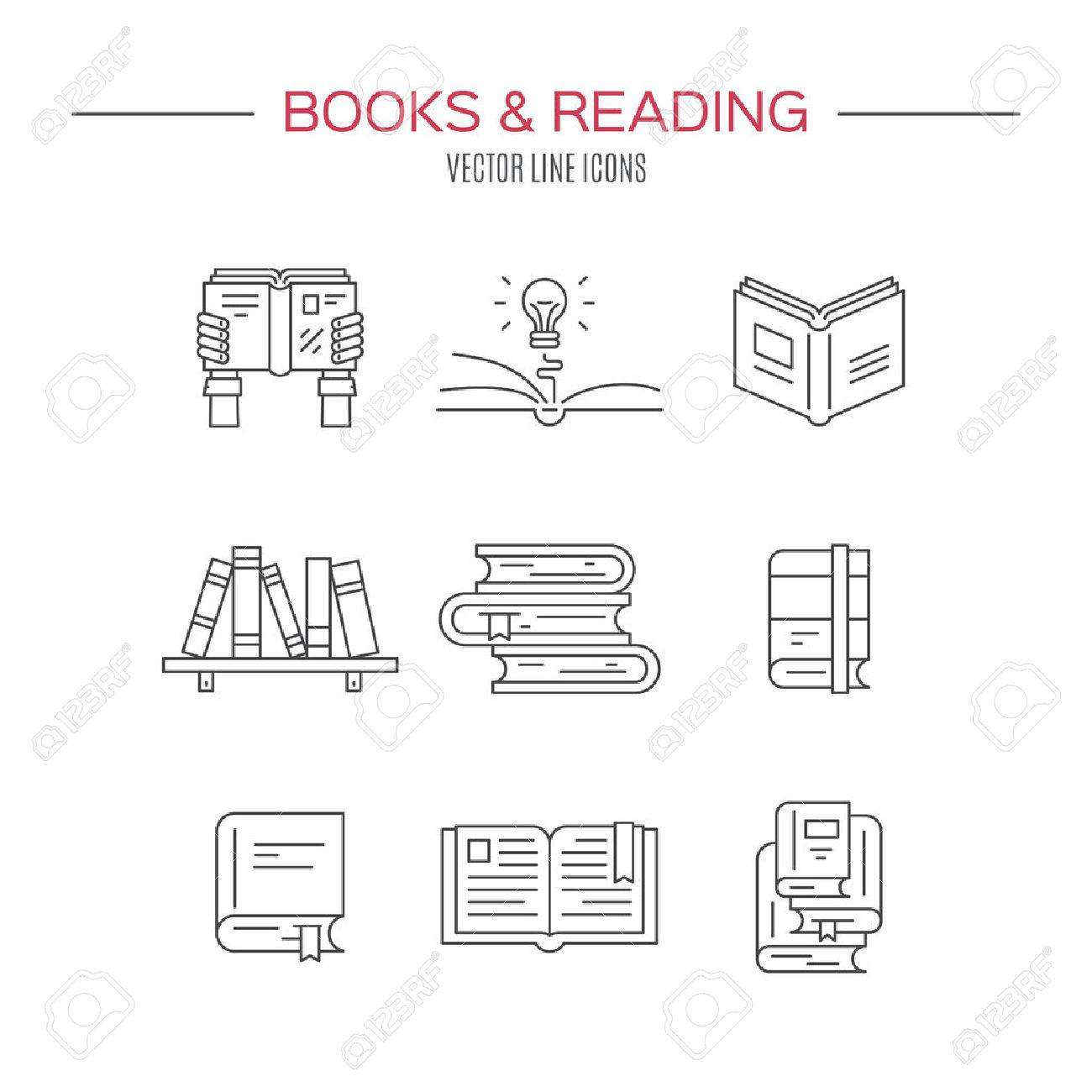 Set Of Books Vector Symbols Of Reading And Learning Book Club