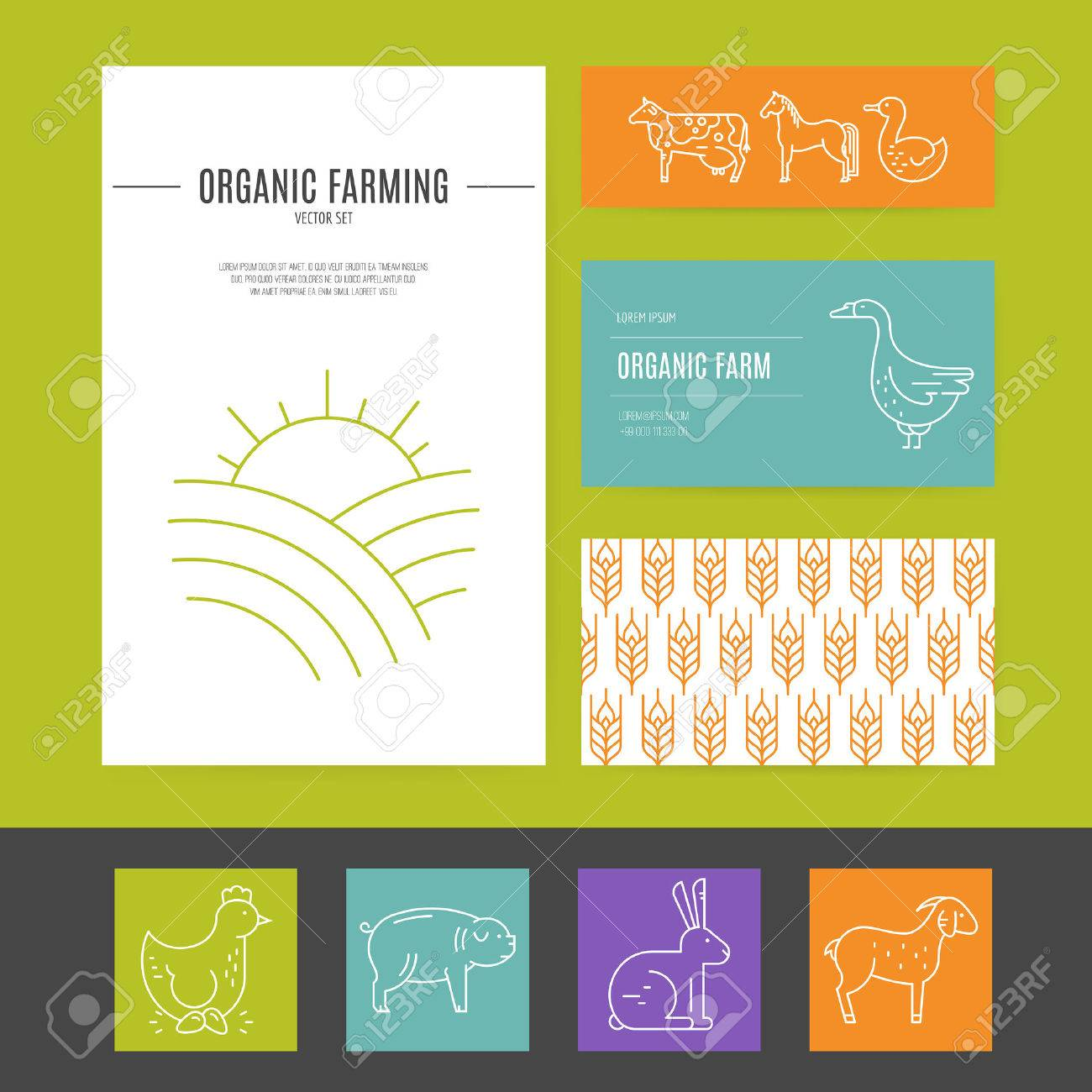 Business Identity Set With Agricultural Elements, Including ...