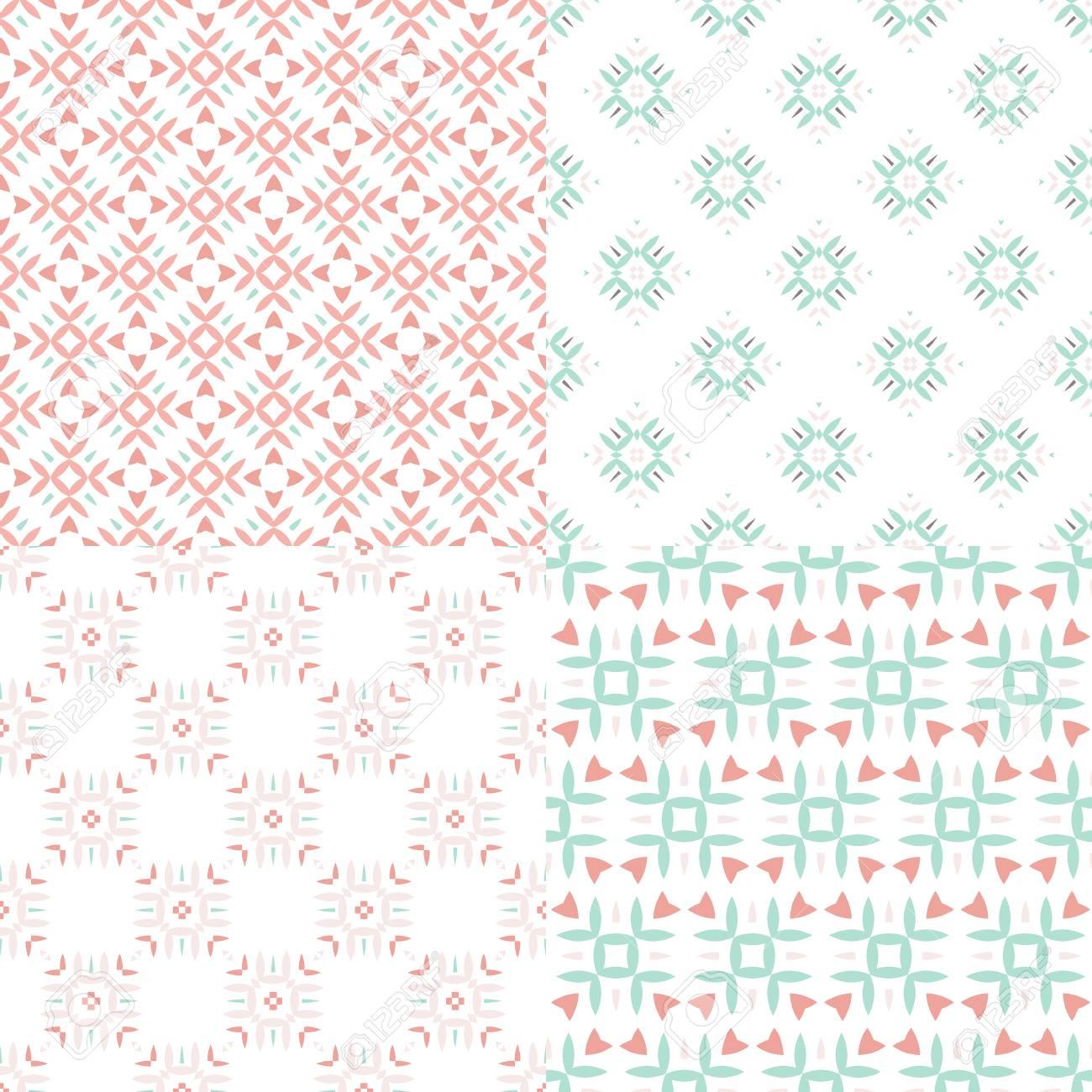 Elegante colección de cuatro patrones geométricos sin costura. Fondo  ornamental para tarjetas, invitaciones, páginas web. Textura retro o papel  ...