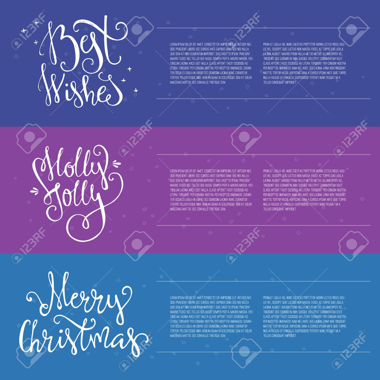 set of three christmas or new year banners with sample text and handdrawn lettering holiday