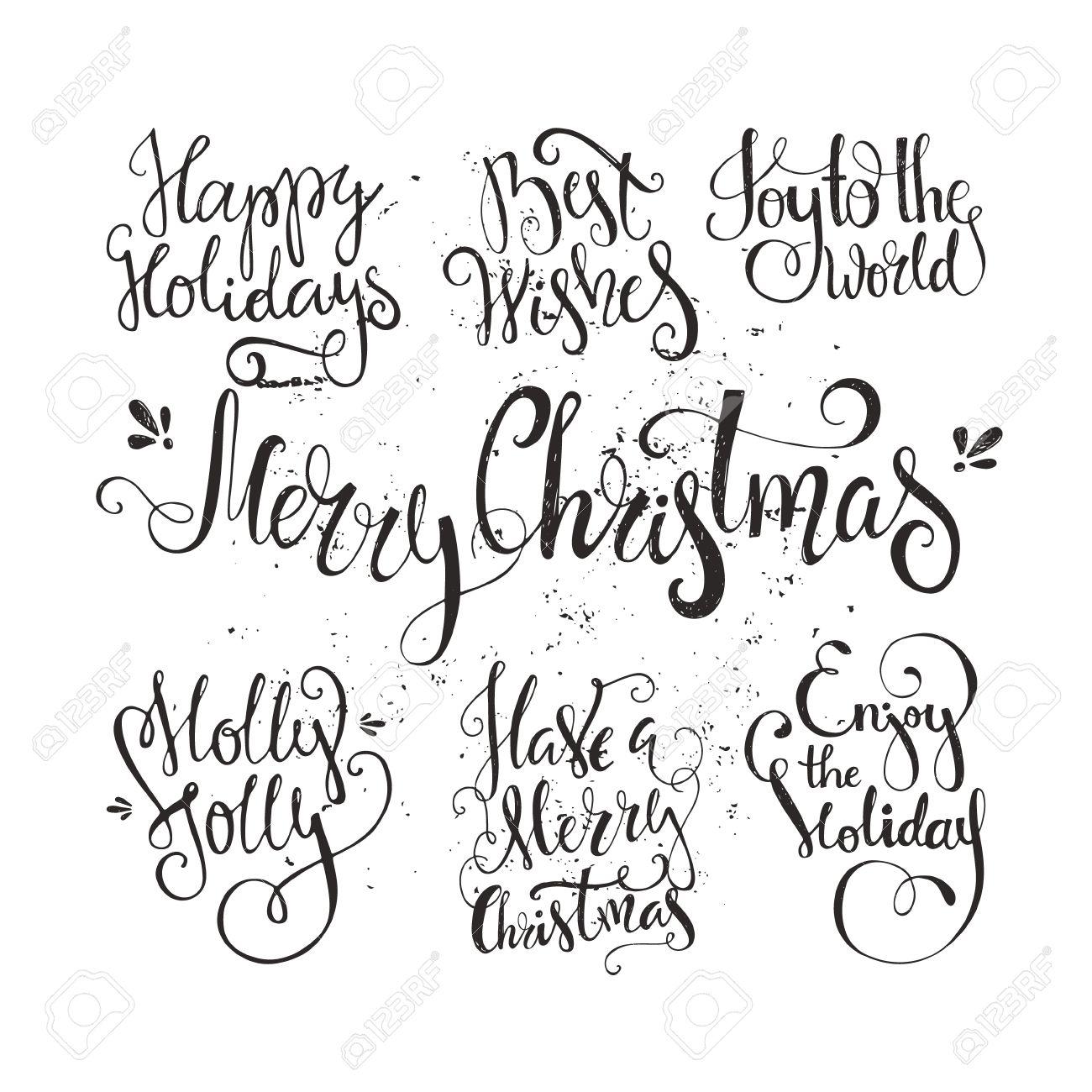 Grosse Reihe Von Handdrawn Neujahr Und Weihnachten Schriftzug Vector