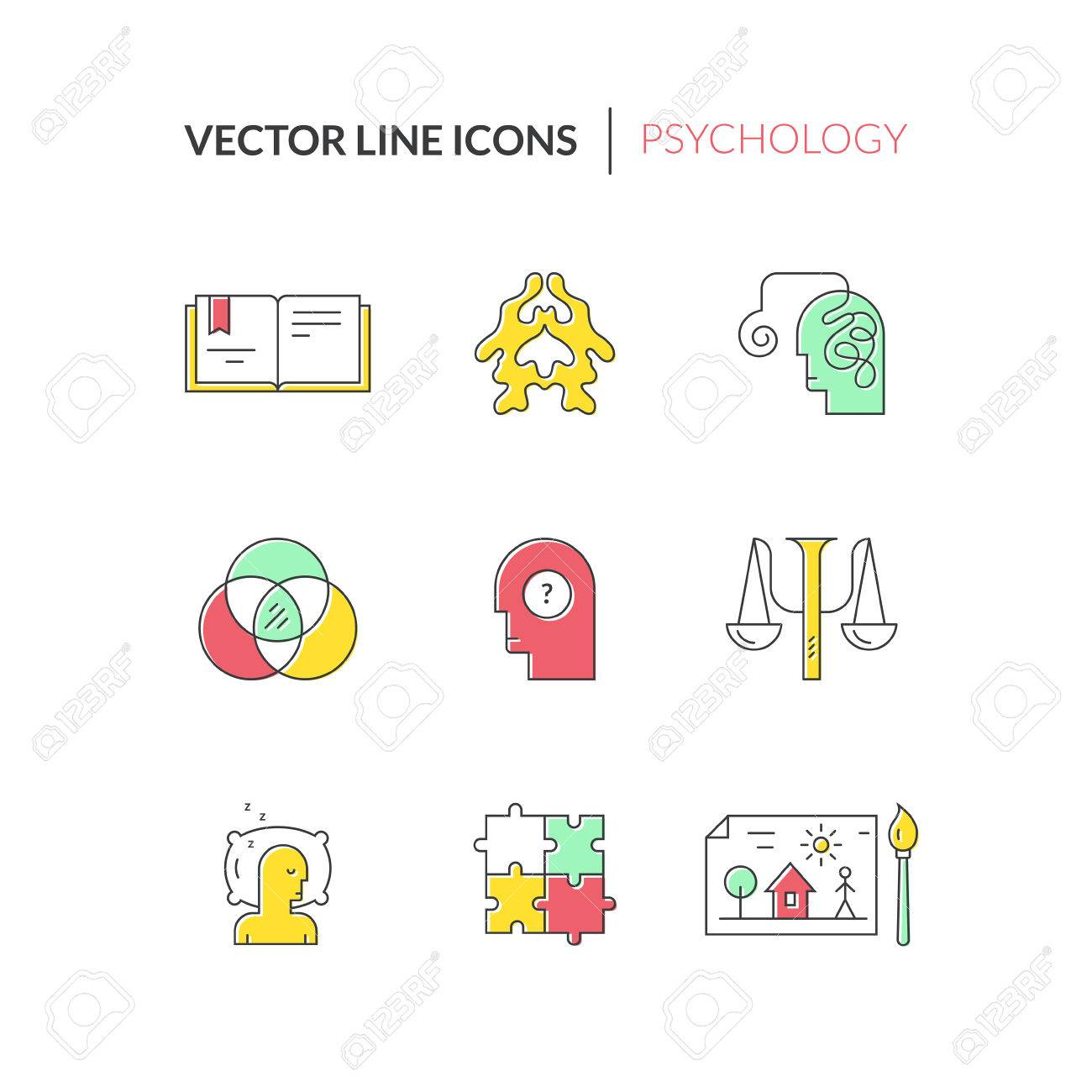 Psychology And Mental Health Symbols Made In Clean And Modern