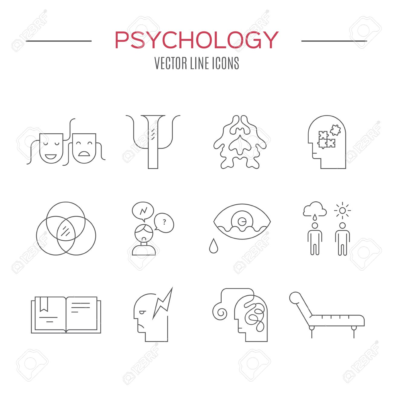 Psychology And Mental Health Symbols Made In Clean And Modern Vector