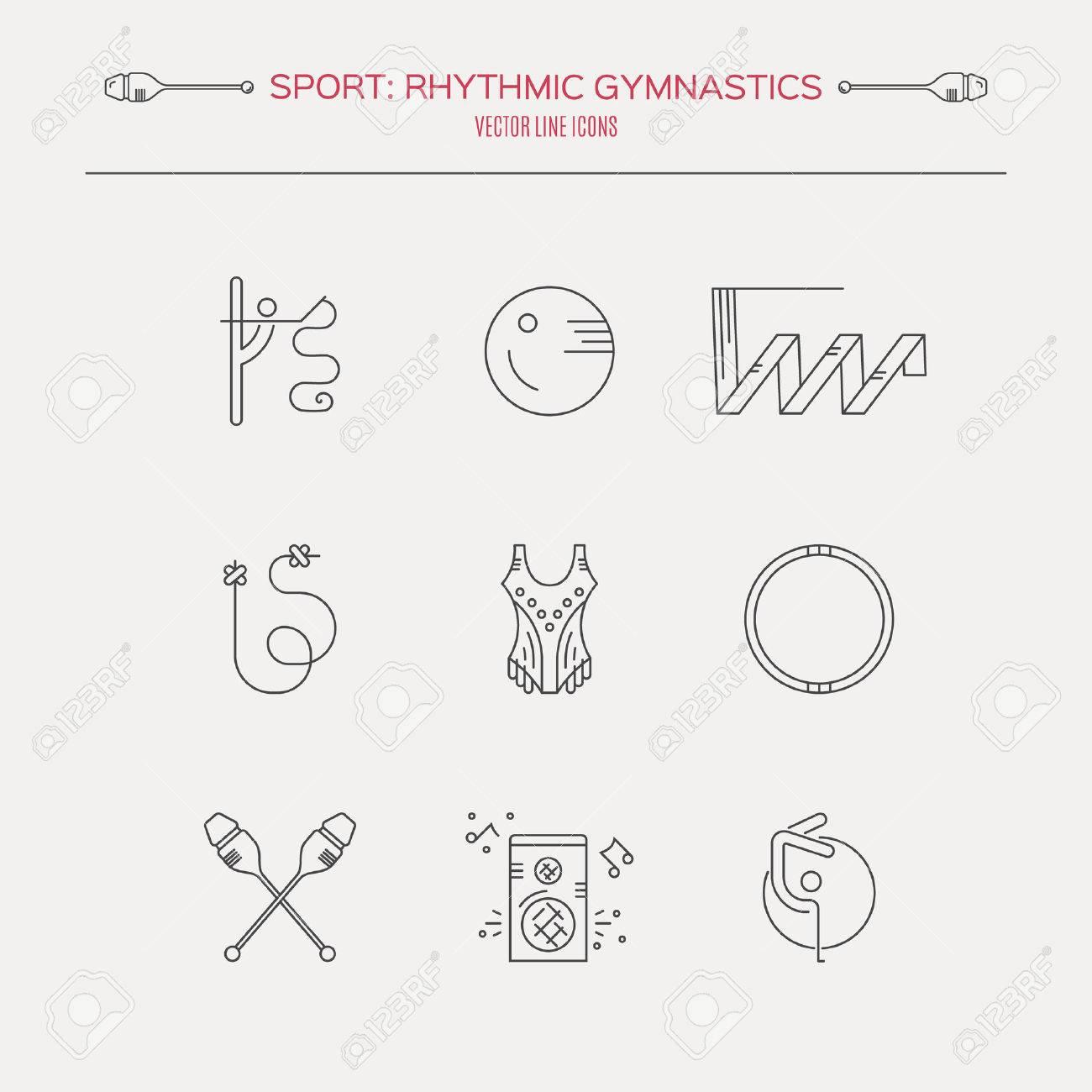 Collection Of Line Modern Vector Symbols Of Rhythmic Gymnastics