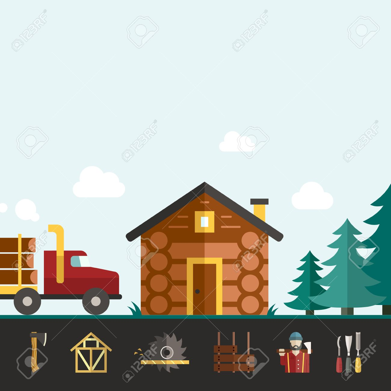 House Construction Vector Template With Log House And Logger ...