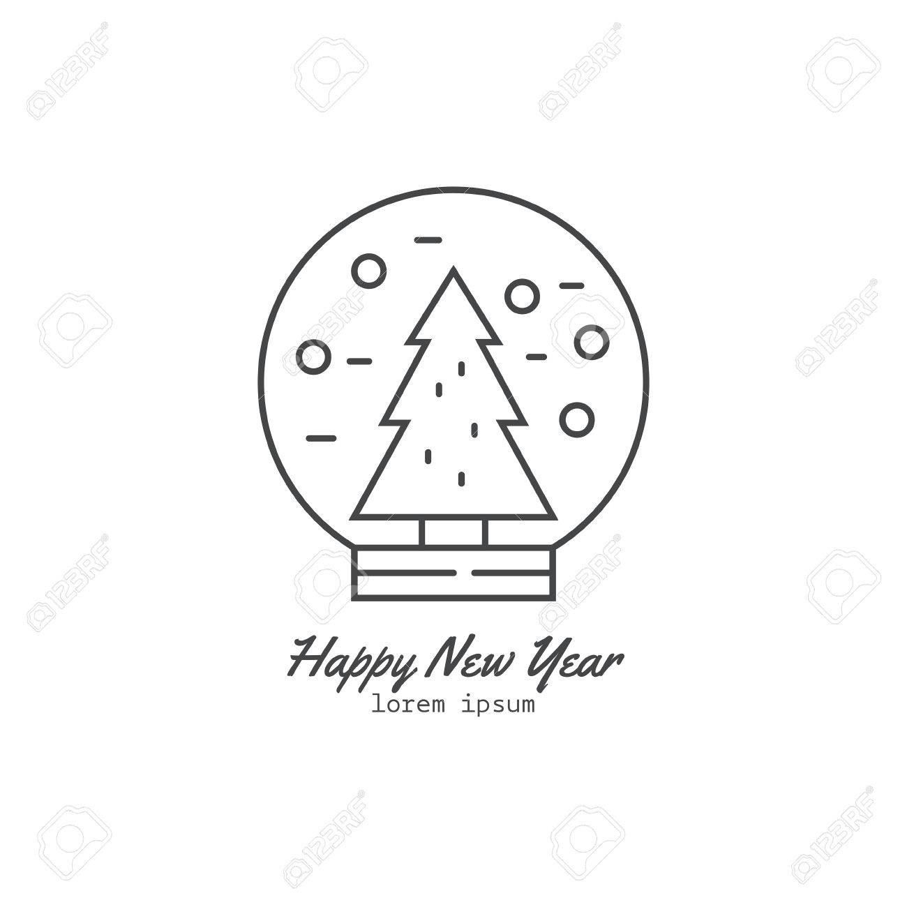 Plantilla De Logotipo Estilo De Línea Con El árbol De Navidad En Una ...