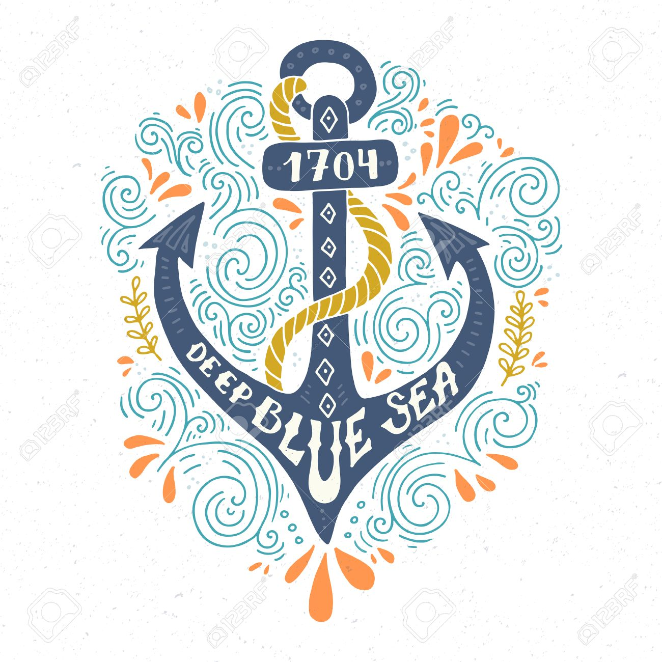 colorful marine design with anchor and hand lettering elements unique t shirt or bag