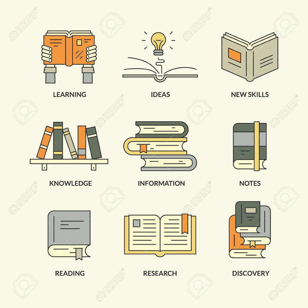 Set Of Education And Learning Symbols Open Book Stack Of Academic