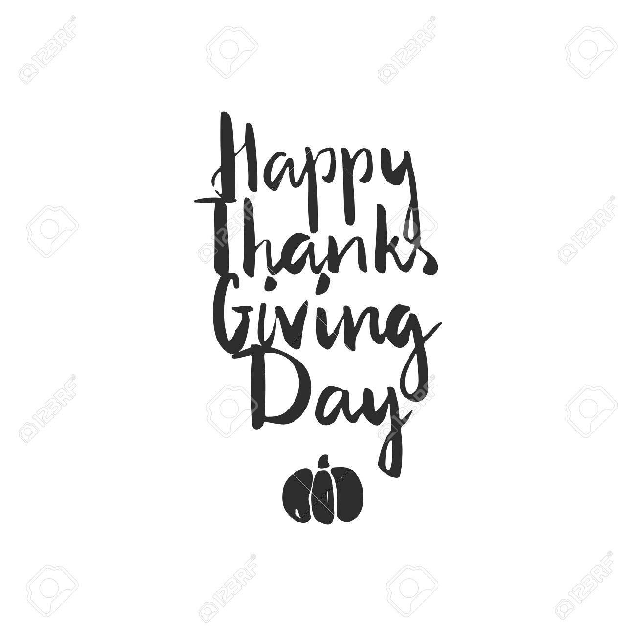 Thanksgiving Handdrawn Lettering. Brush Script Written By Hand ...