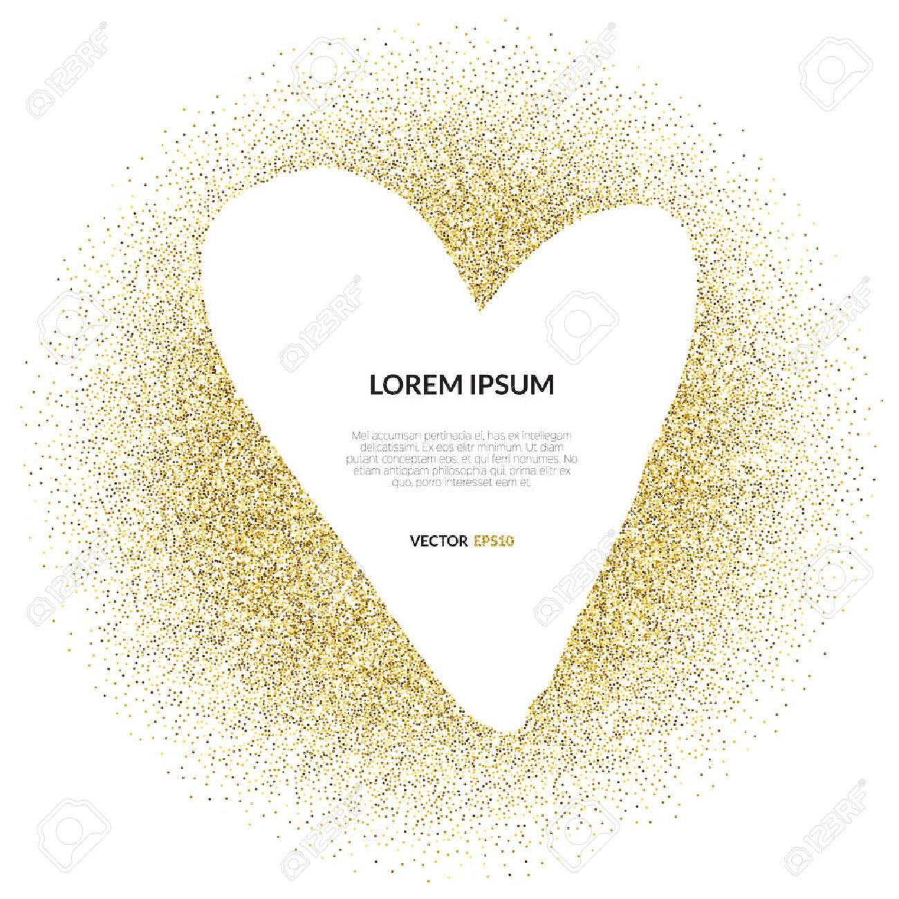 Abstract vector background with gold glitter and a shape of a heart. 100% vector - easy to use and edit. Gold sparkles isolated on white with place for your text. Design for wedding card, valentine, save the date. - 50367154