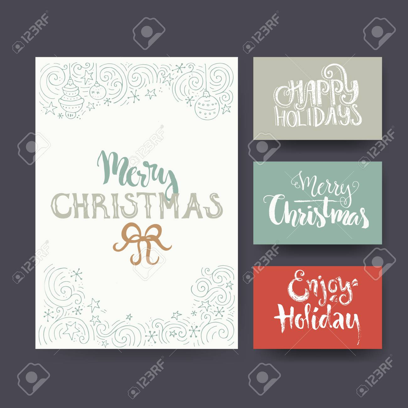 Unique Christmas Cards.Set Of Greeting Card Templates With Unique Christmas Design Elements