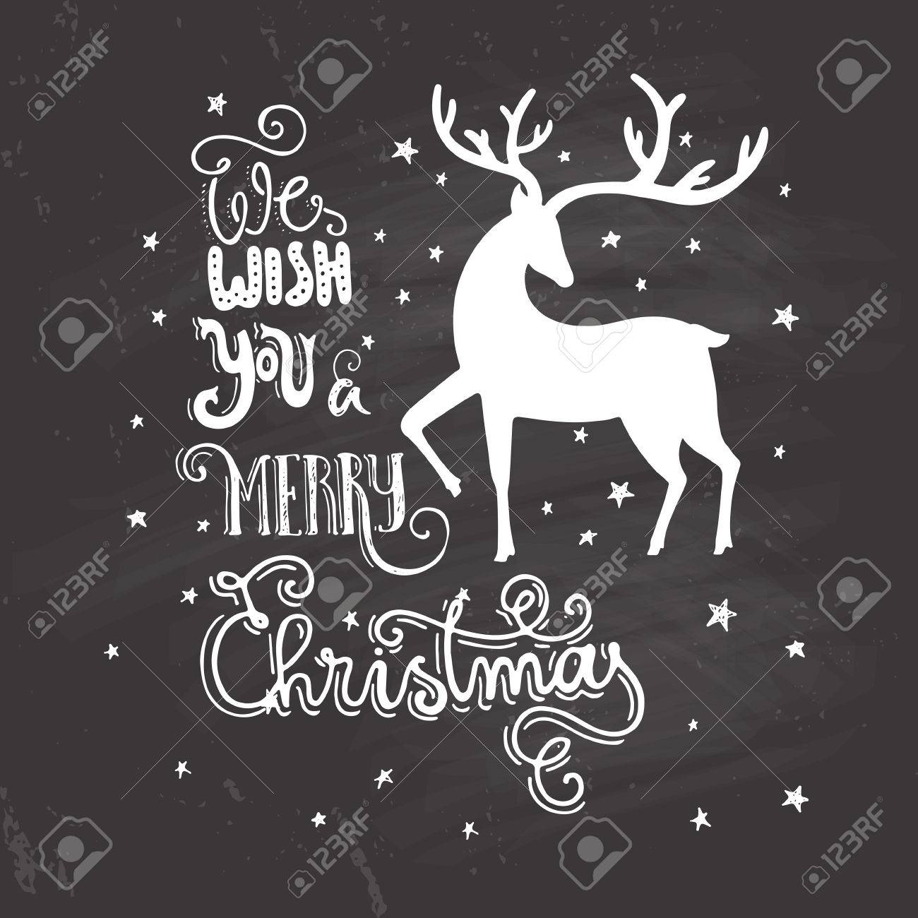 Unique Christmas Cards.Unique Christmas Card With Handdrawn Lettering And Silhouette