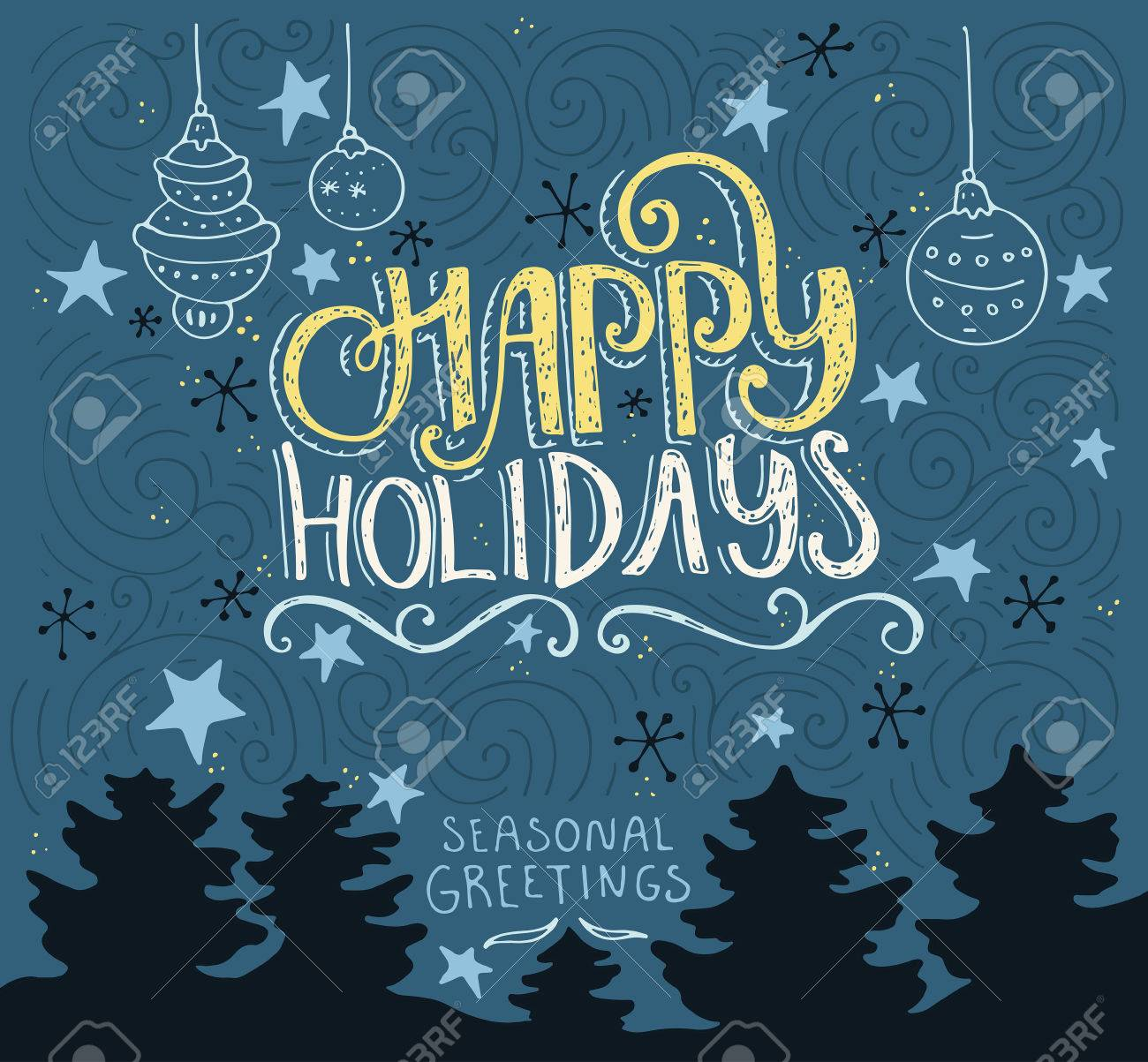 Handdrawn postcard or greeting card design element with unique lerreting. Happy Holidays typography. Vector art. - 50367188