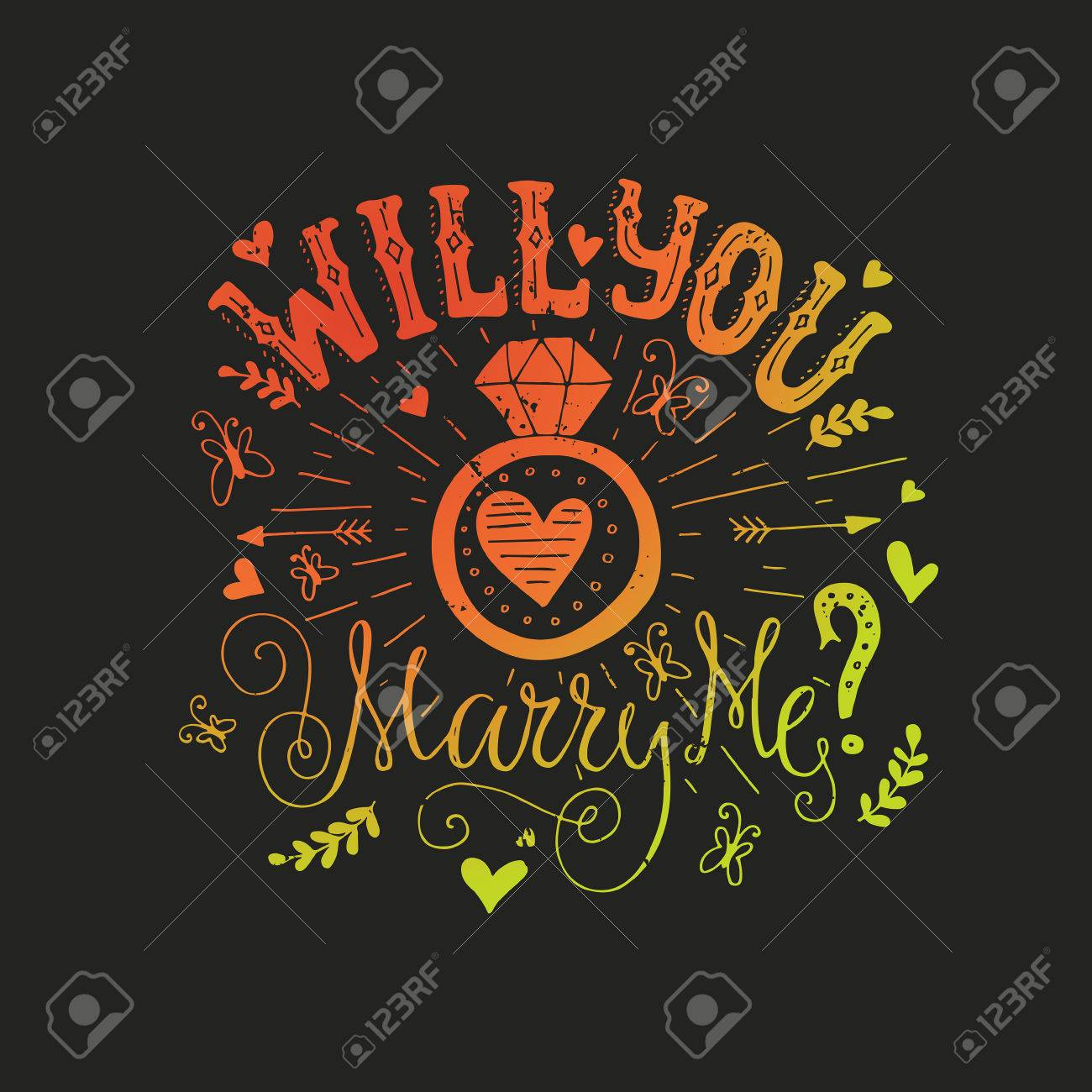 Will you marry me handdrawn card with marriage proposal wedding vector will you marry me handdrawn card with marriage proposal wedding ring and lots of heart engagement party invitation save the date card design stopboris Choice Image
