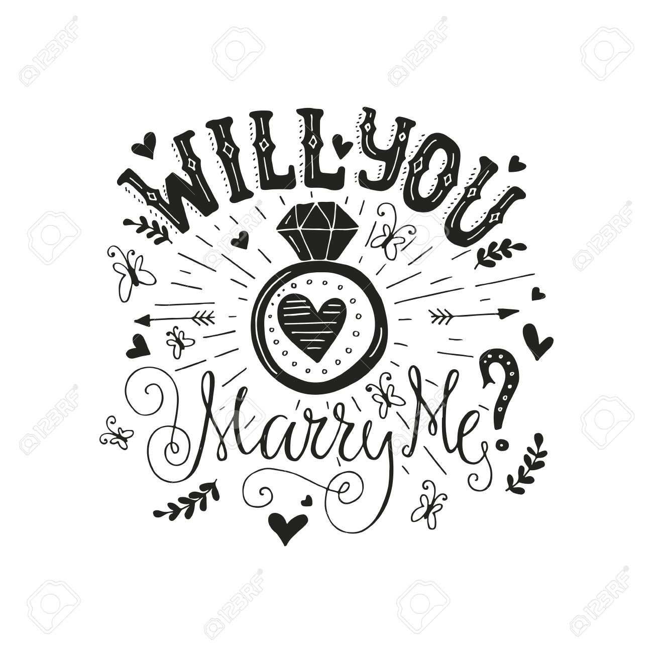 Handdrawn poster ?Marry Me? with engagement ring, hearts and swirls. Engagement party invitation. Save the date card design. Love lettering with engagement ring. Romantic handdrawn lettering. Vector art. Valentine card. - 51550253